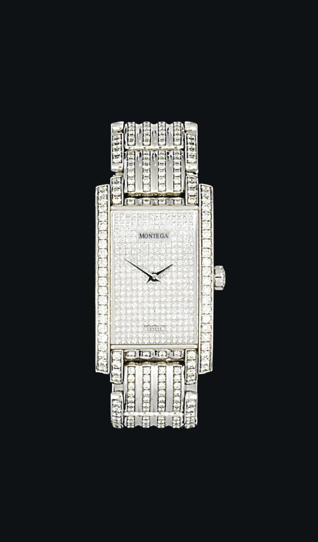 A diamond-set 18ct white gold wristwatch, by Montega