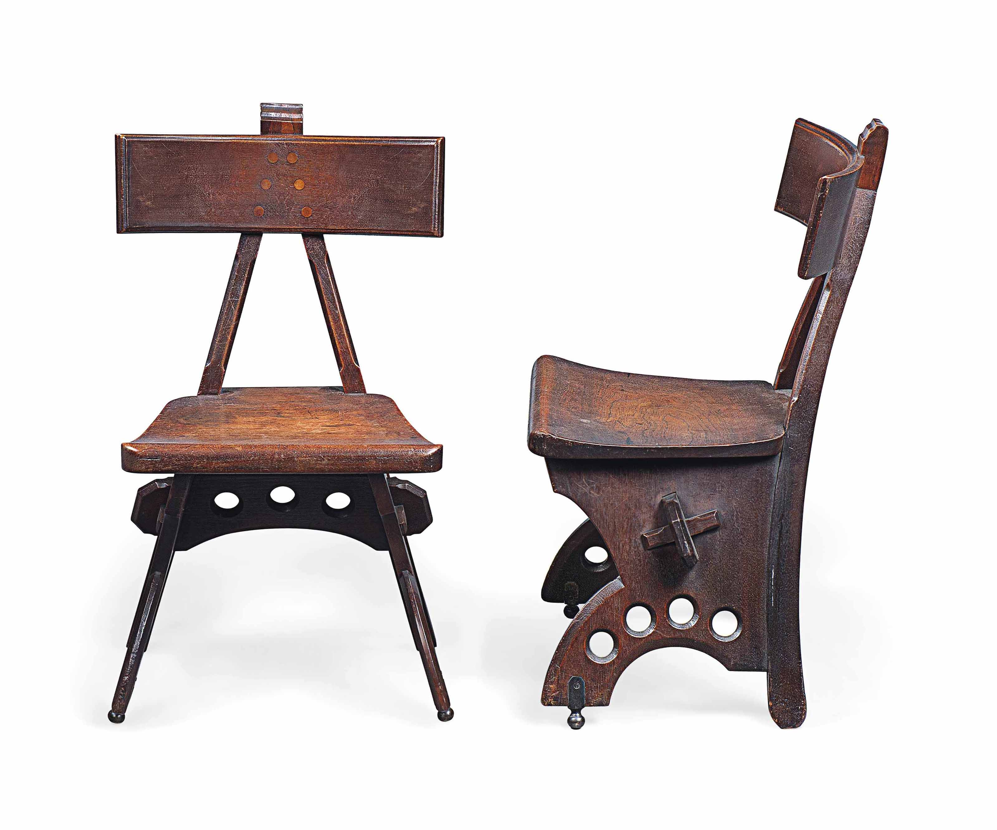 A PAIR OF E.W. PUGIN (1833-1886) 'GRANVILLE' OAK CHAIRS