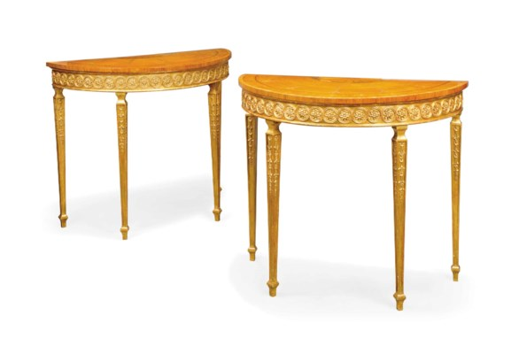 A PAIR OF SATINWOOD, INLAID AN