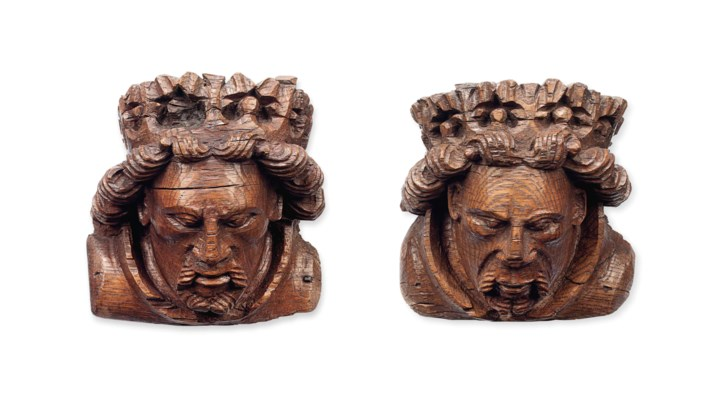 A PAIR OF ENGLISH MEDIEVAL OAK