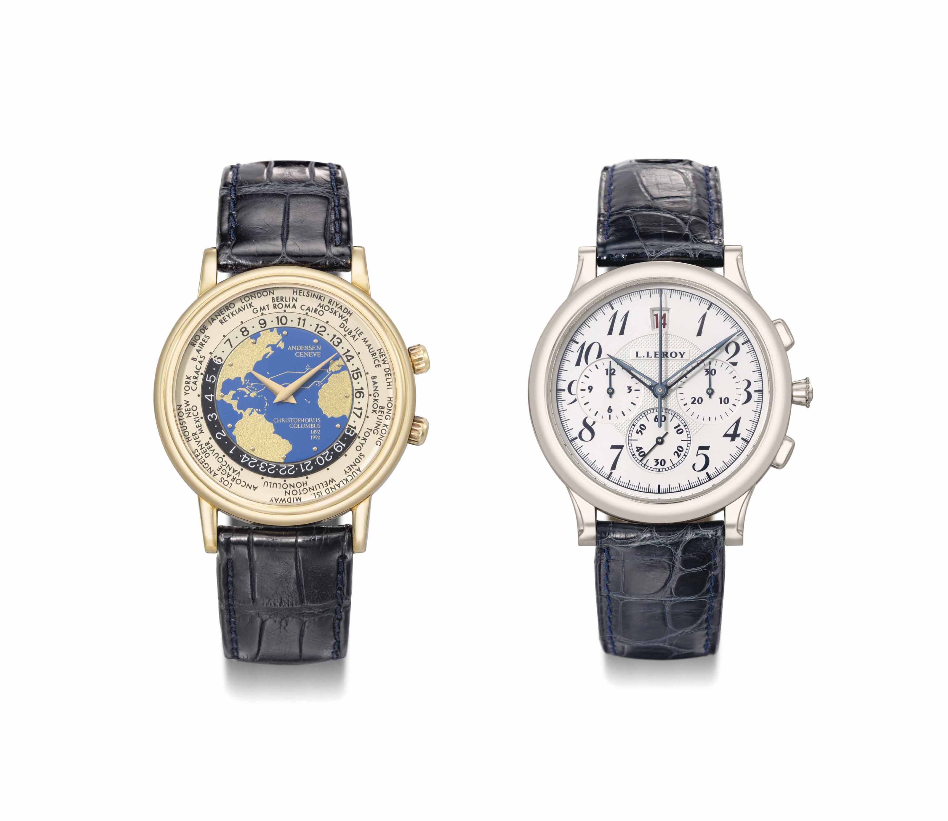 Andersen and L. Leroy. A lot of one 18K gold worldtime and one 18K white gold chronograph wristwatches