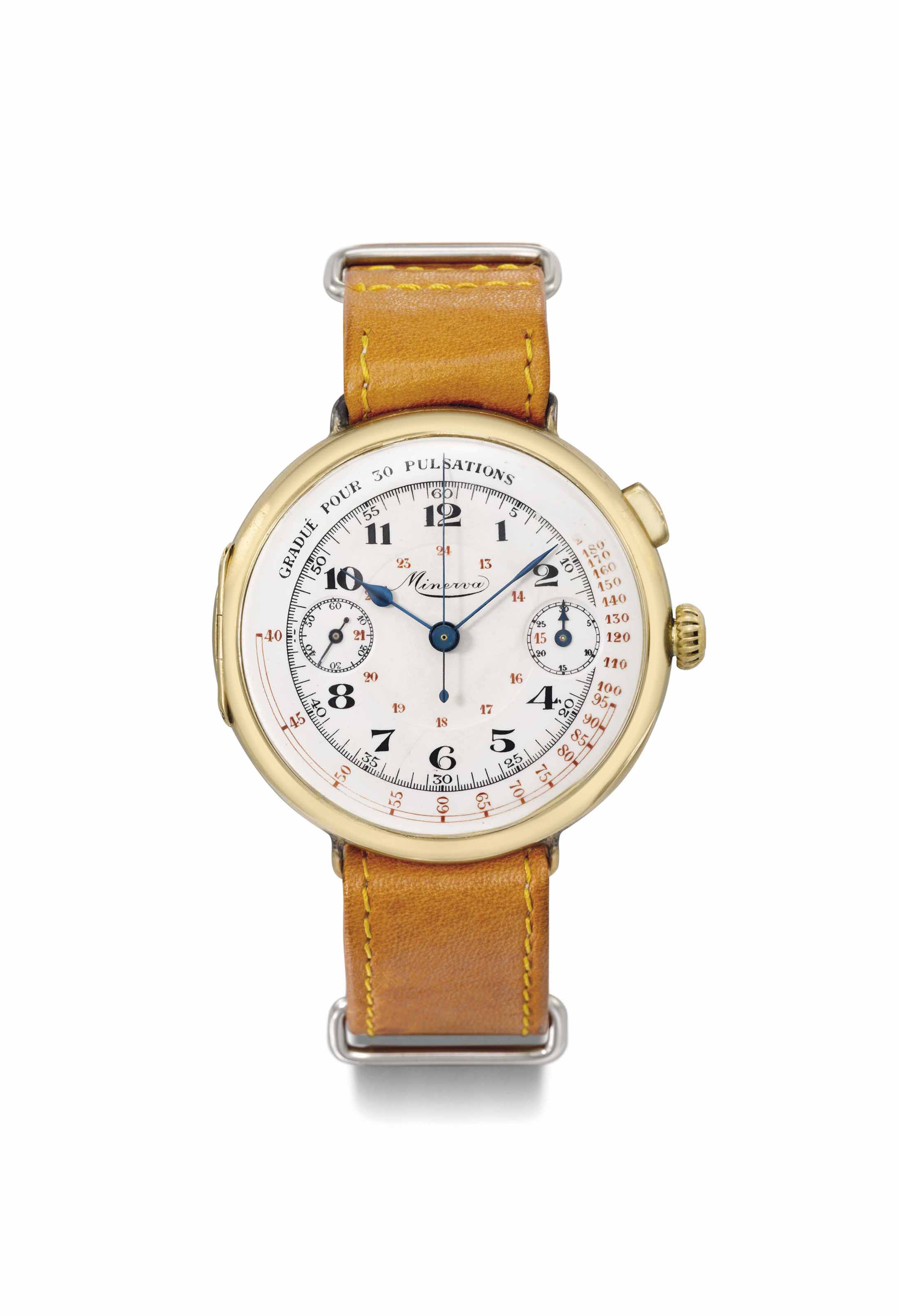 Minerva. A rare and large 18K gold hinged single button chronograph wristwatch with enamel dial and pulsation scale
