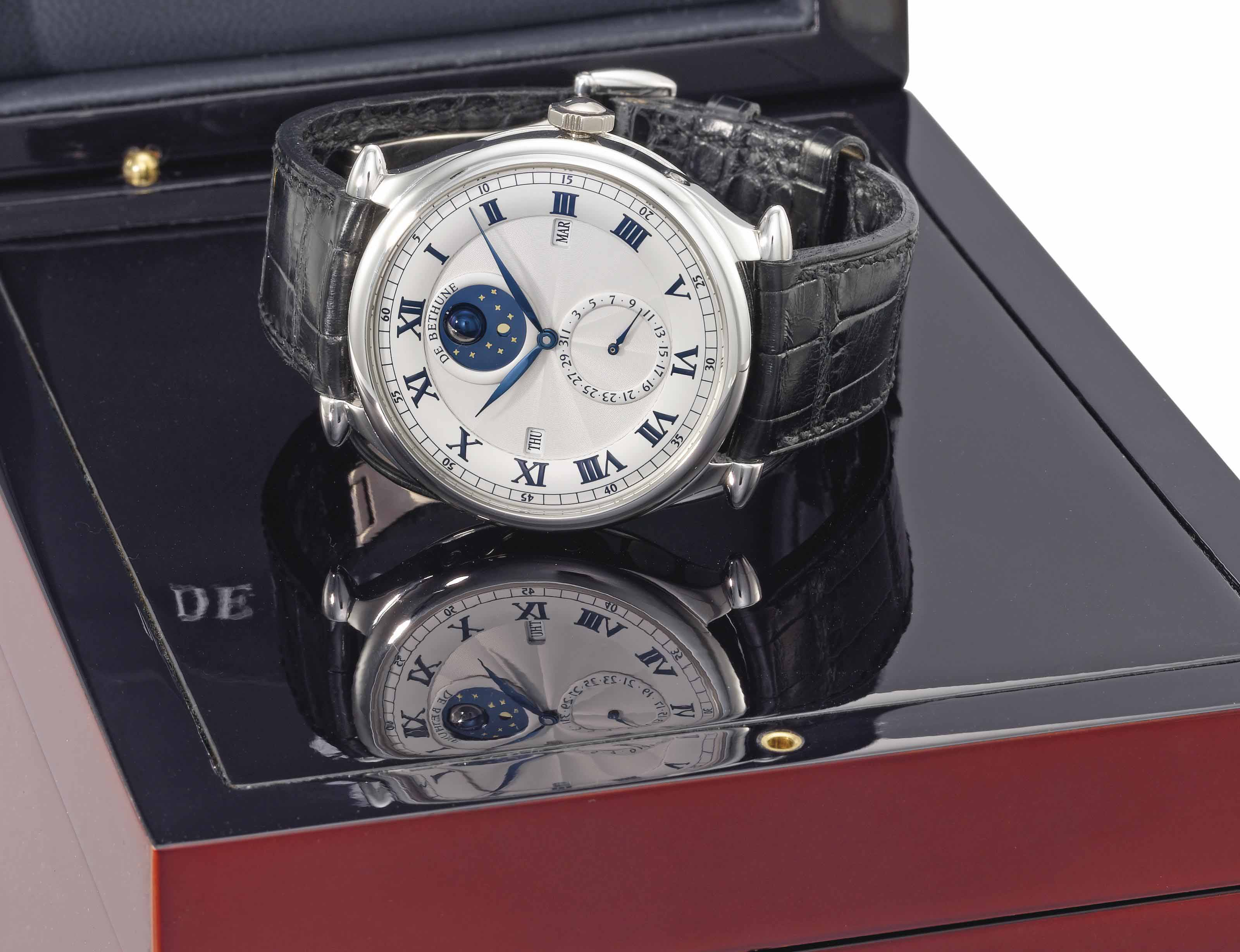 De Bethune. A fine and large platinum perpetual calendar wristwatch with three-dimensional revolving moon phases