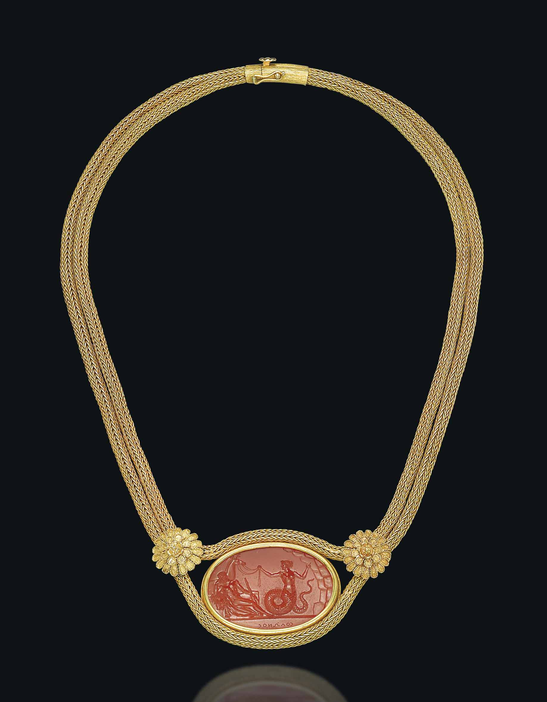 A CORNELIAN AND GOLD NECKLACE, BY LALAOUNIS