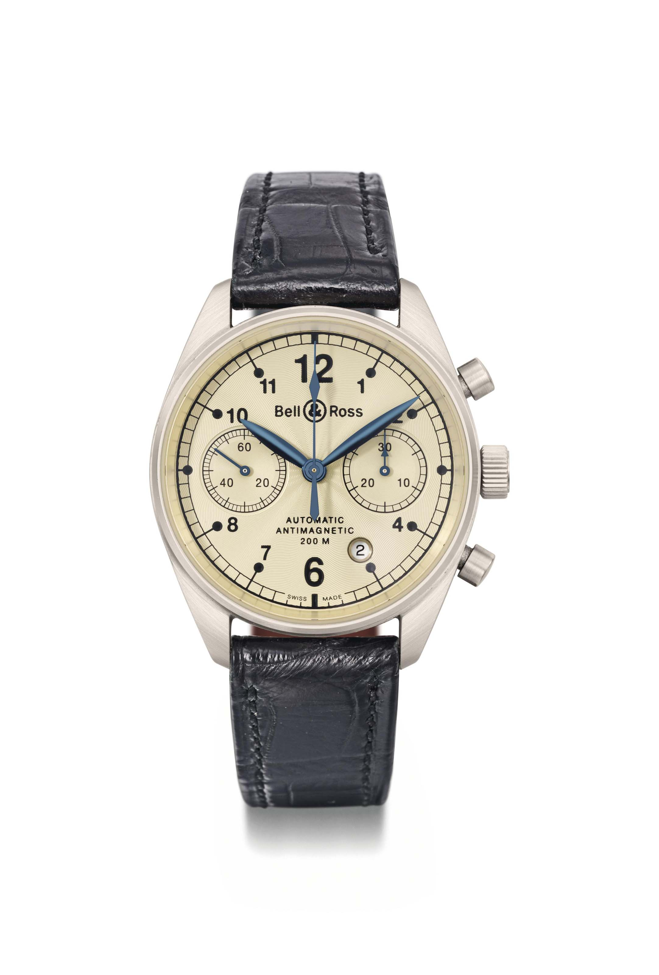Bell & Ross. An 18K white gold automatic chronograph wristwatch with date