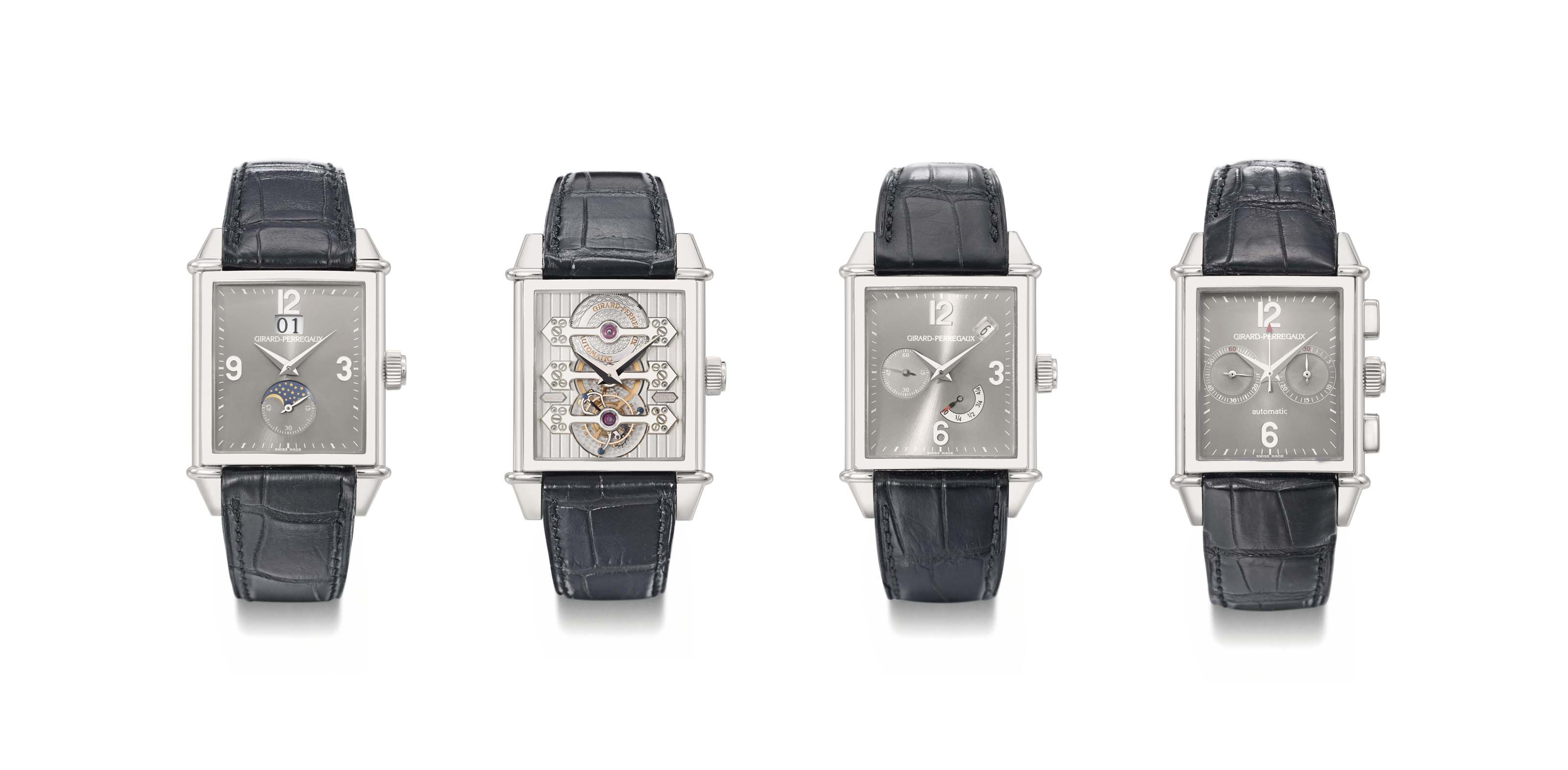 Girard-Perregaux. A unique set of four large platinum automatic rectangular wristwatches with various complications, Certificates and box