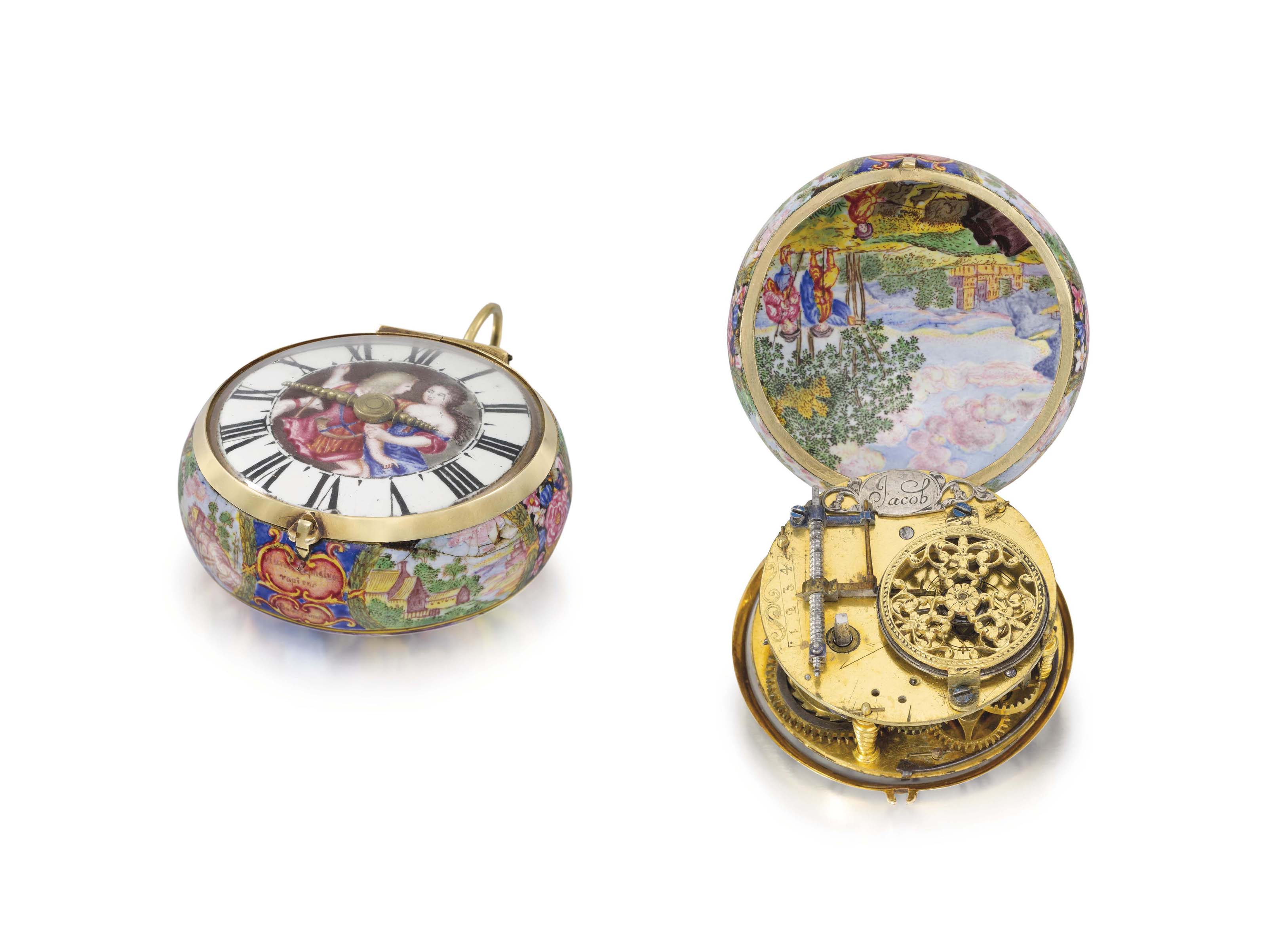 Jacob and Bulet. A very rare 20K gold and enamel early balance spring verge watch with Barrow regulator, the enamel scenes depicting the rapt of Cephalus by Aurora