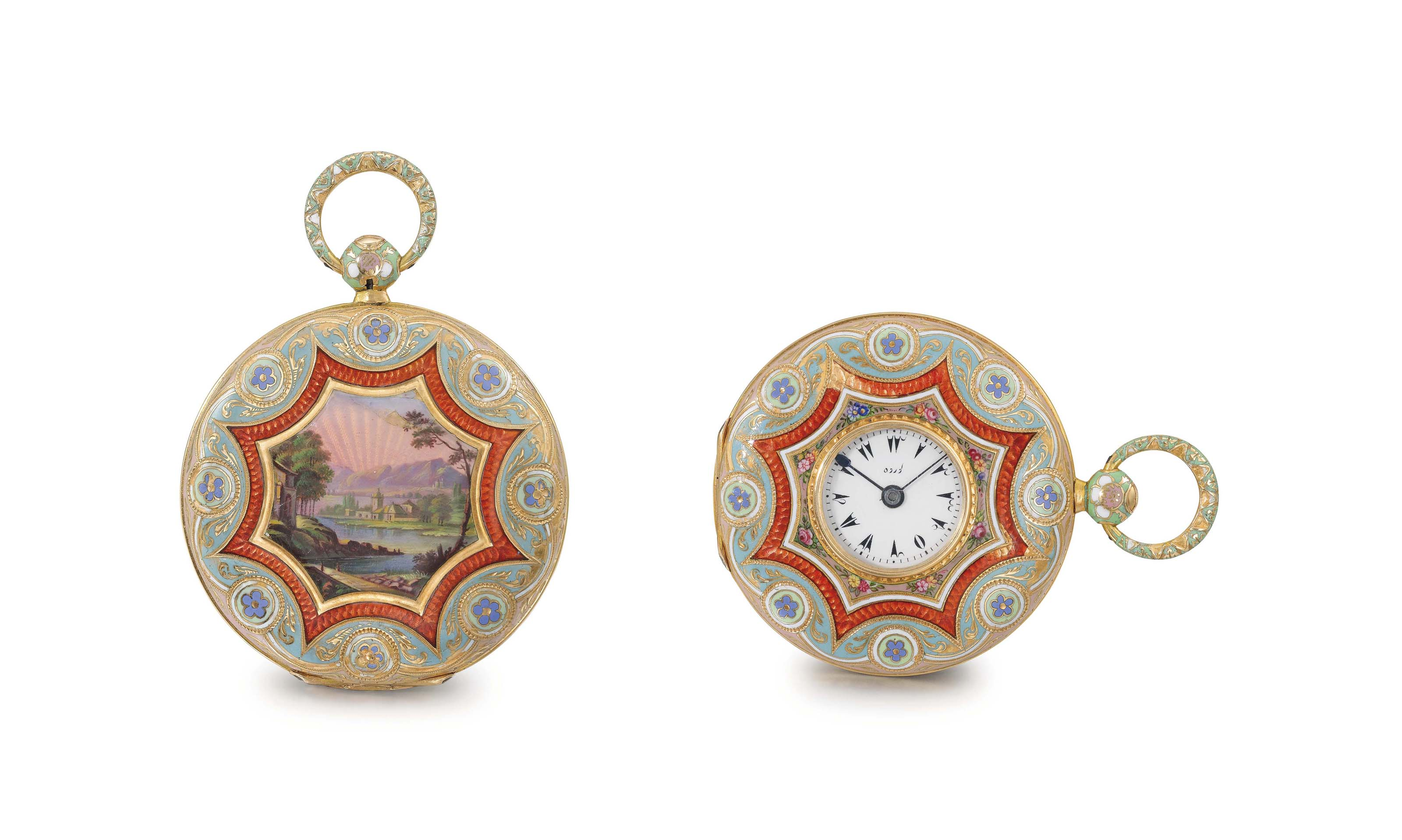 Leroy. A gold and enamel half hunter case keywound cylinder watch, made for the Turkish market