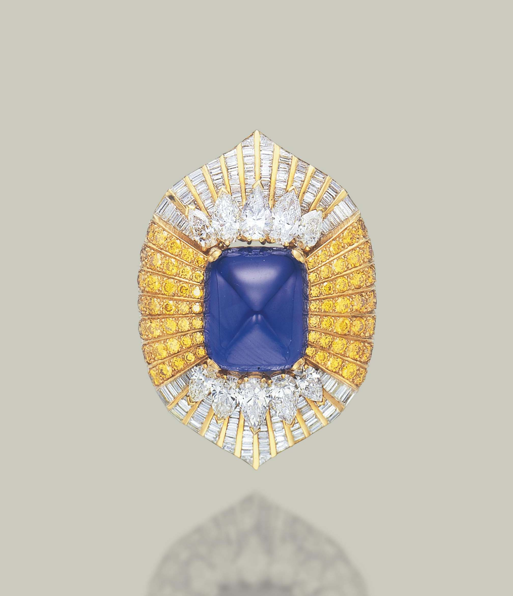 A SAPPHIRE, DIAMOND AND COLOURED DIAMOND BROOCH, BY DAVID MORRIS