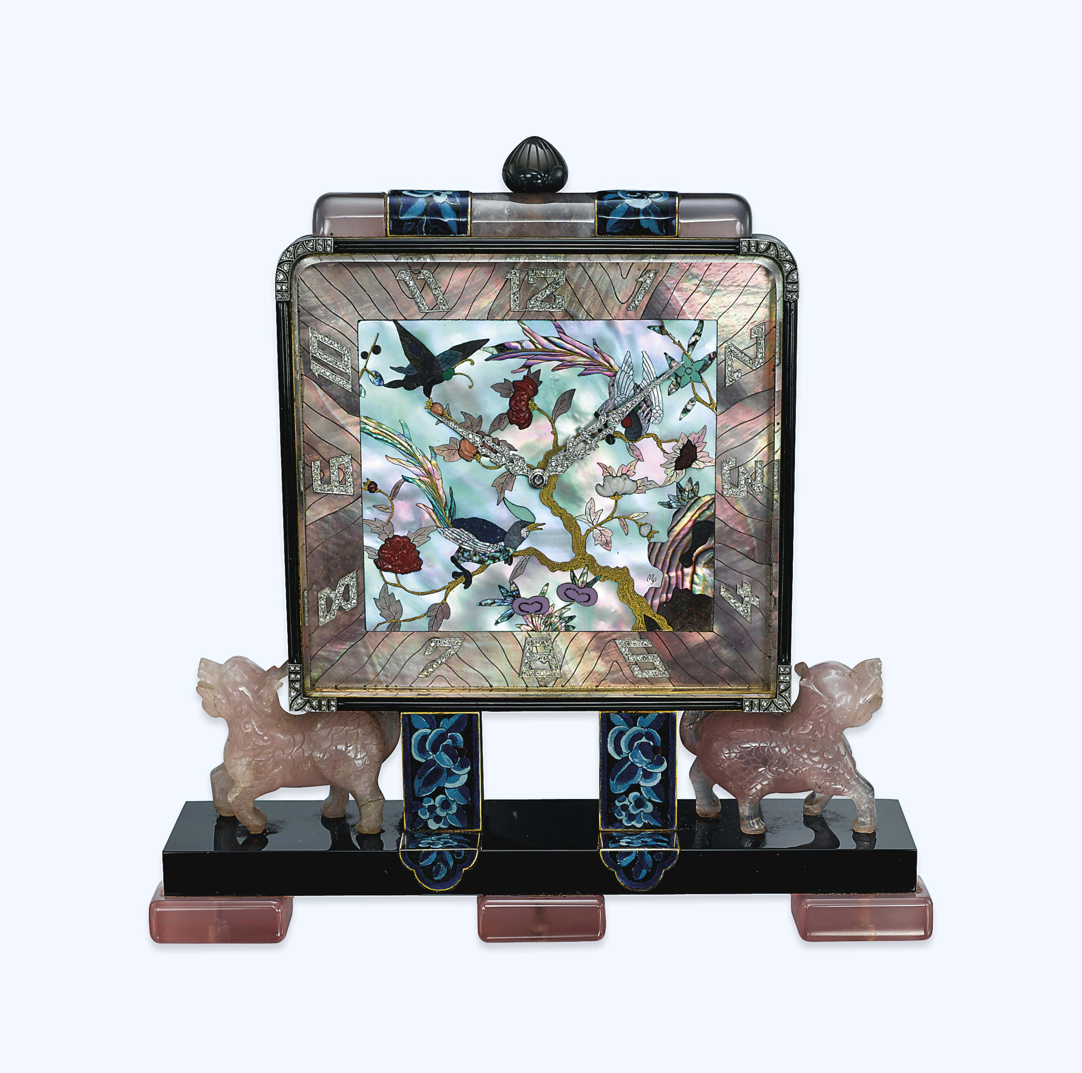 AN ART DECO MOTHER-OF-PEARL, DIAMOND AND GEM-SET CHINOISERIE DESK CLOCK, BY LACLOCHE FRÈRES