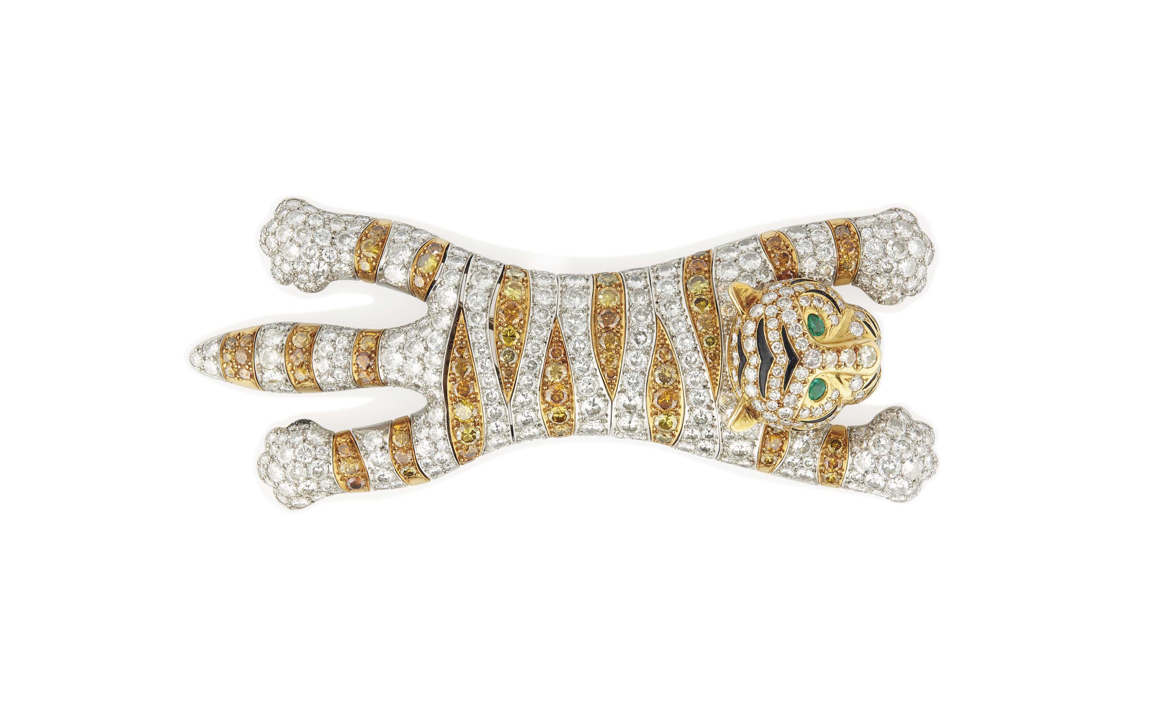 A DIAMOND, COLOURED DIAMOND, EMERALD AND ENAMEL 'TIGER' SHOULDER BROOCH, BY RENÉ BOIVIN