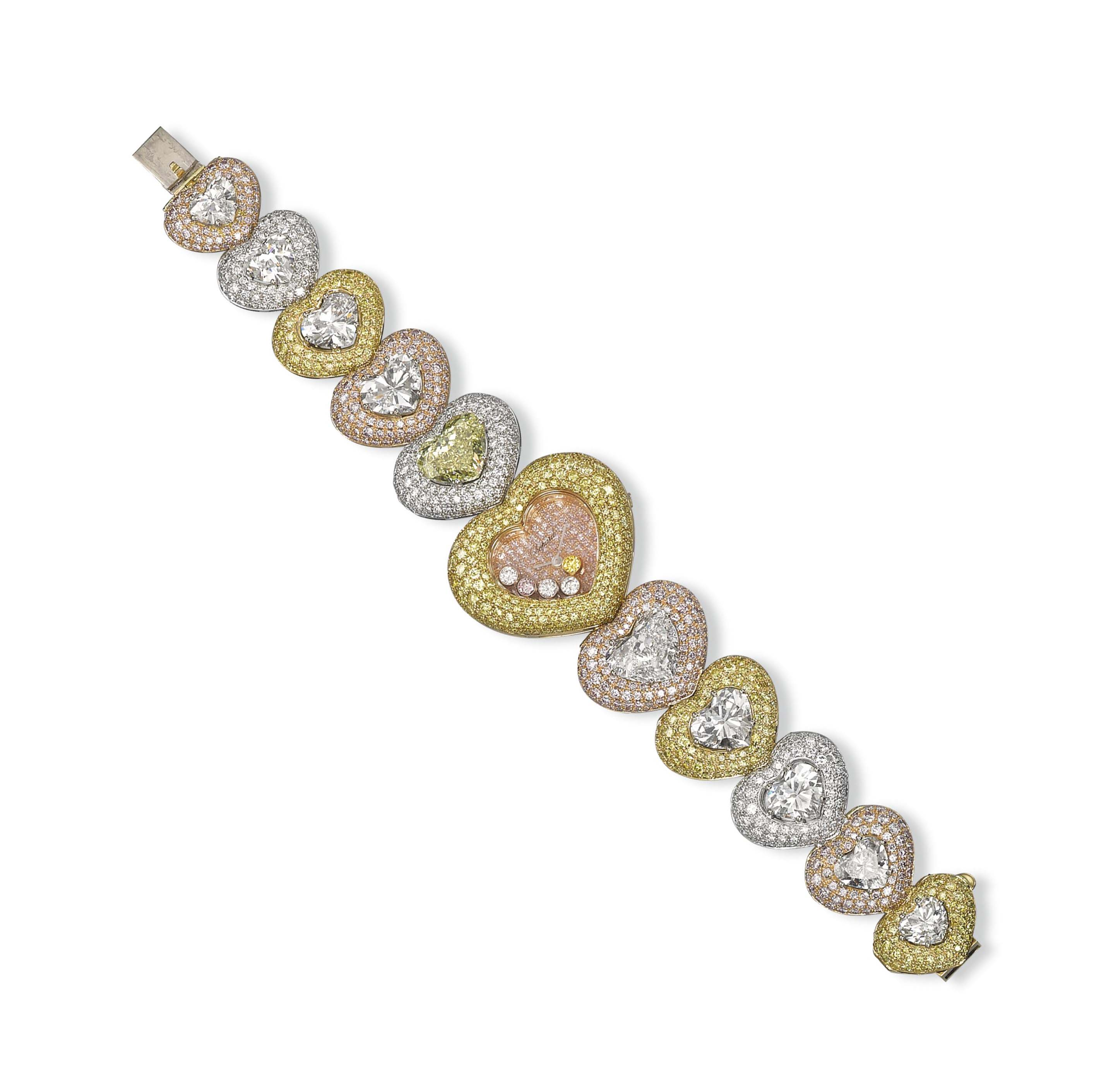 A LADY'S COLOURED DIAMOND AND DIAMOND BRACELET-WATCH, BY CHOPARD