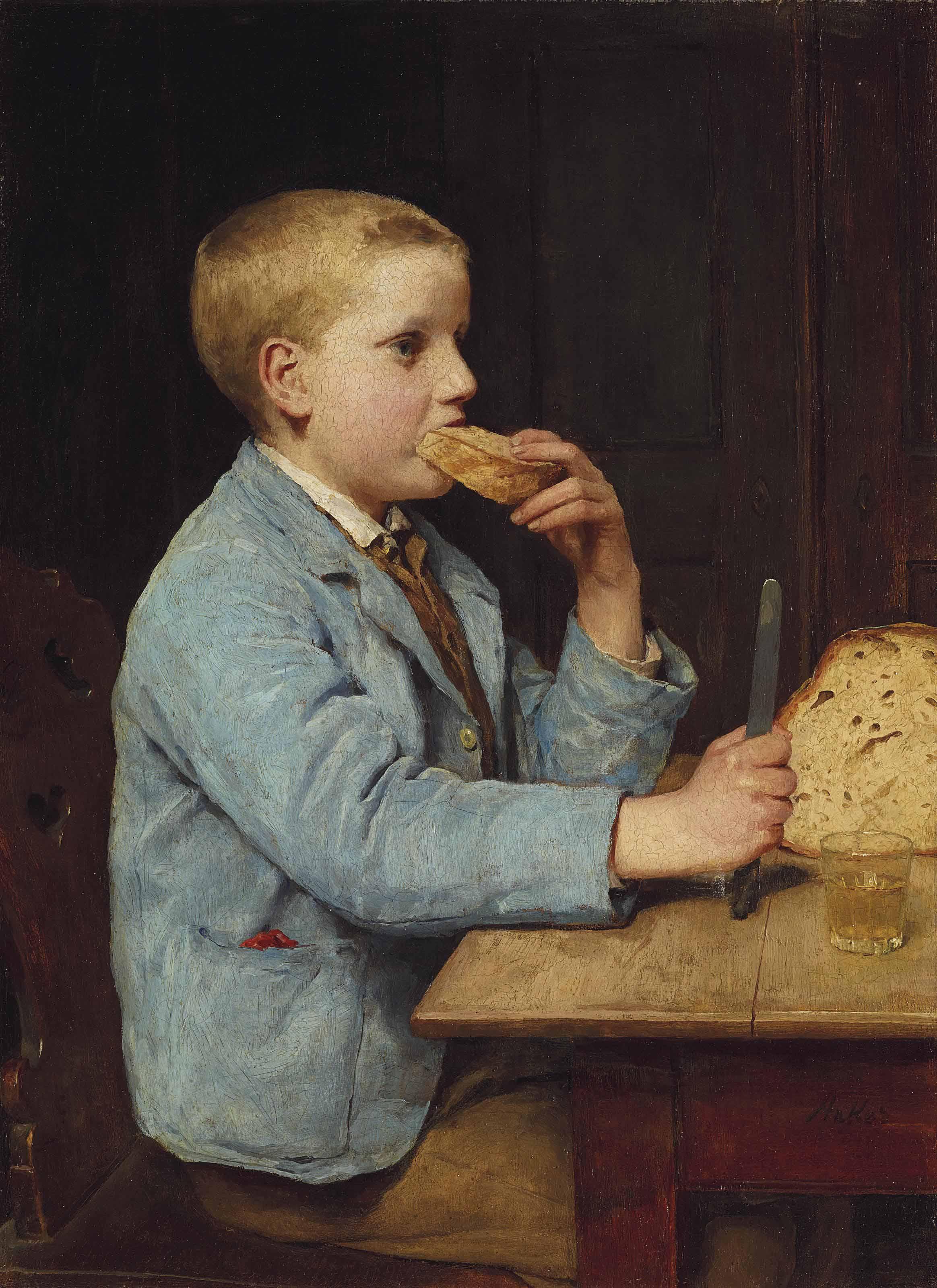 Knabe beim Znüni, um 1897