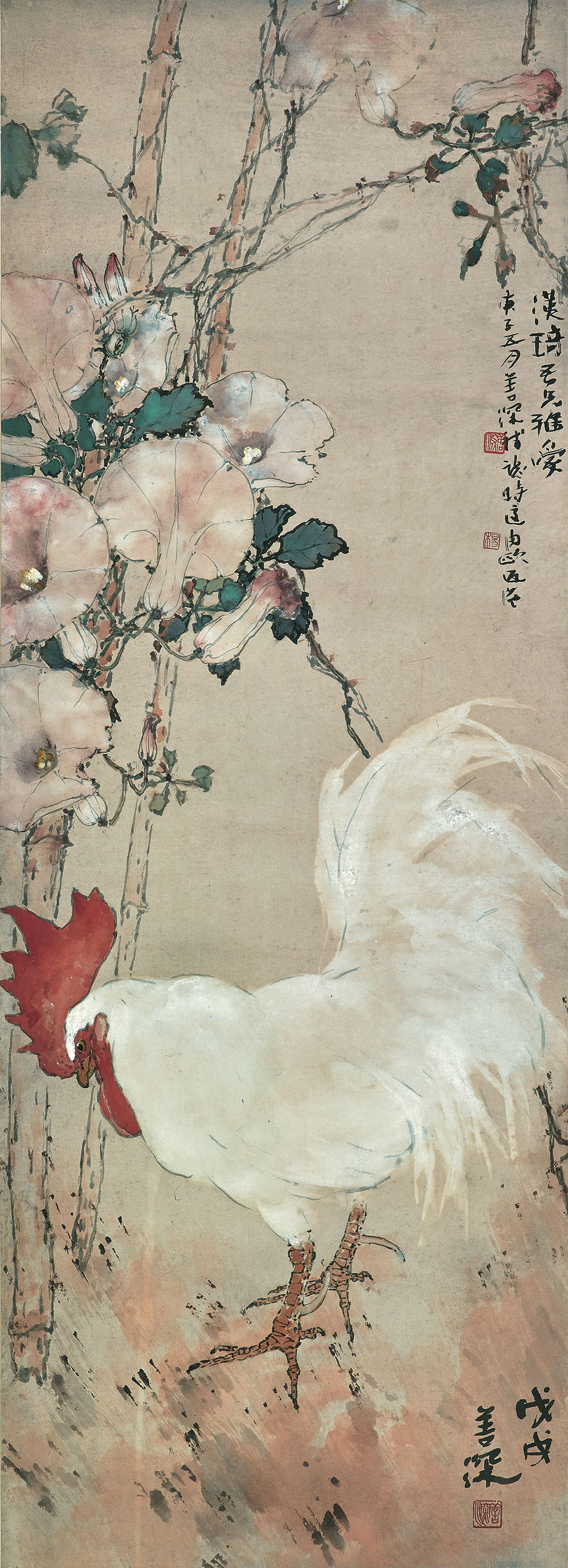 Rooster and Morning Glories