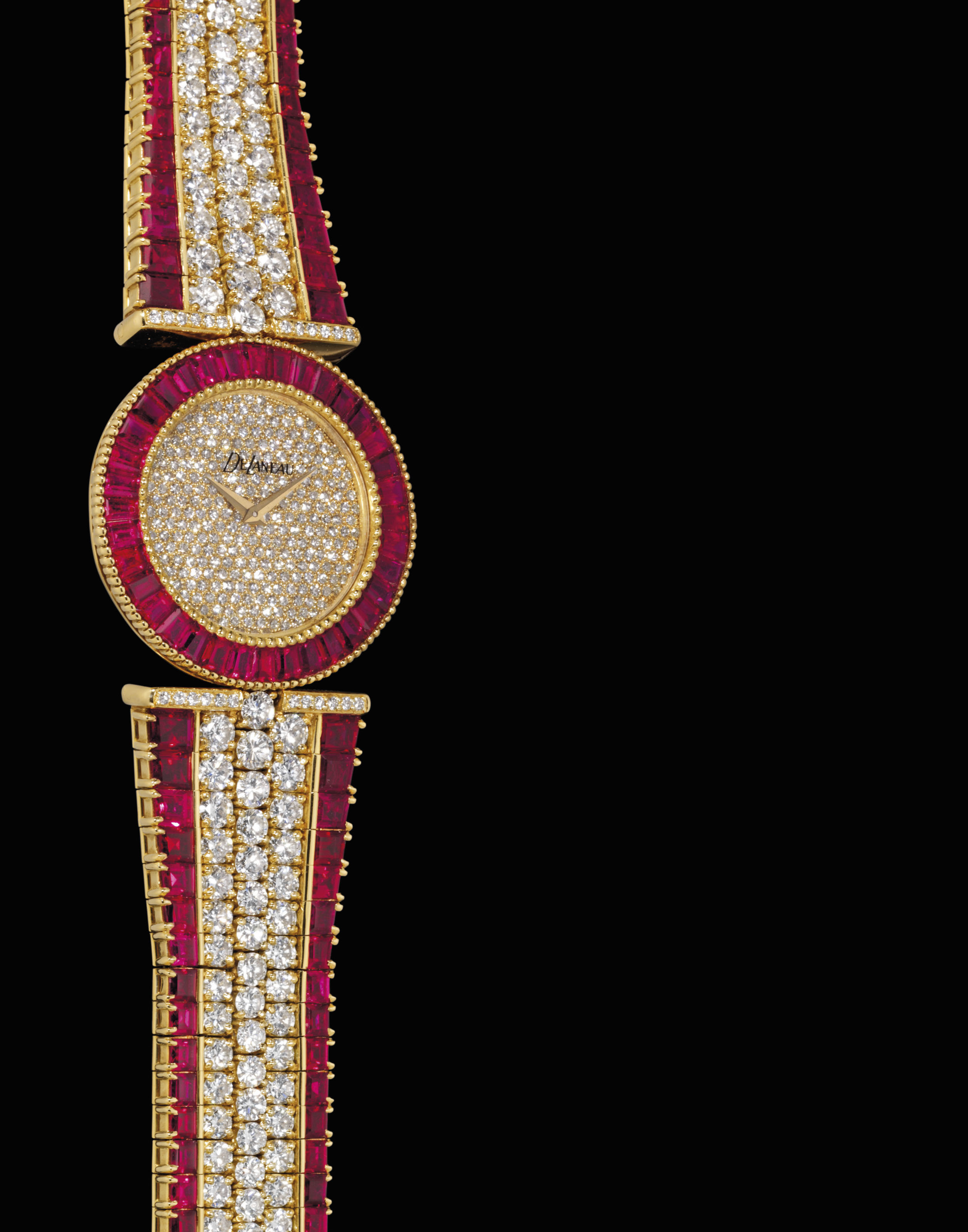DELANEAU. A FINE AND RARE 18K GOLD, DIAMOND AND RUBY-SET BRACELET WATCH