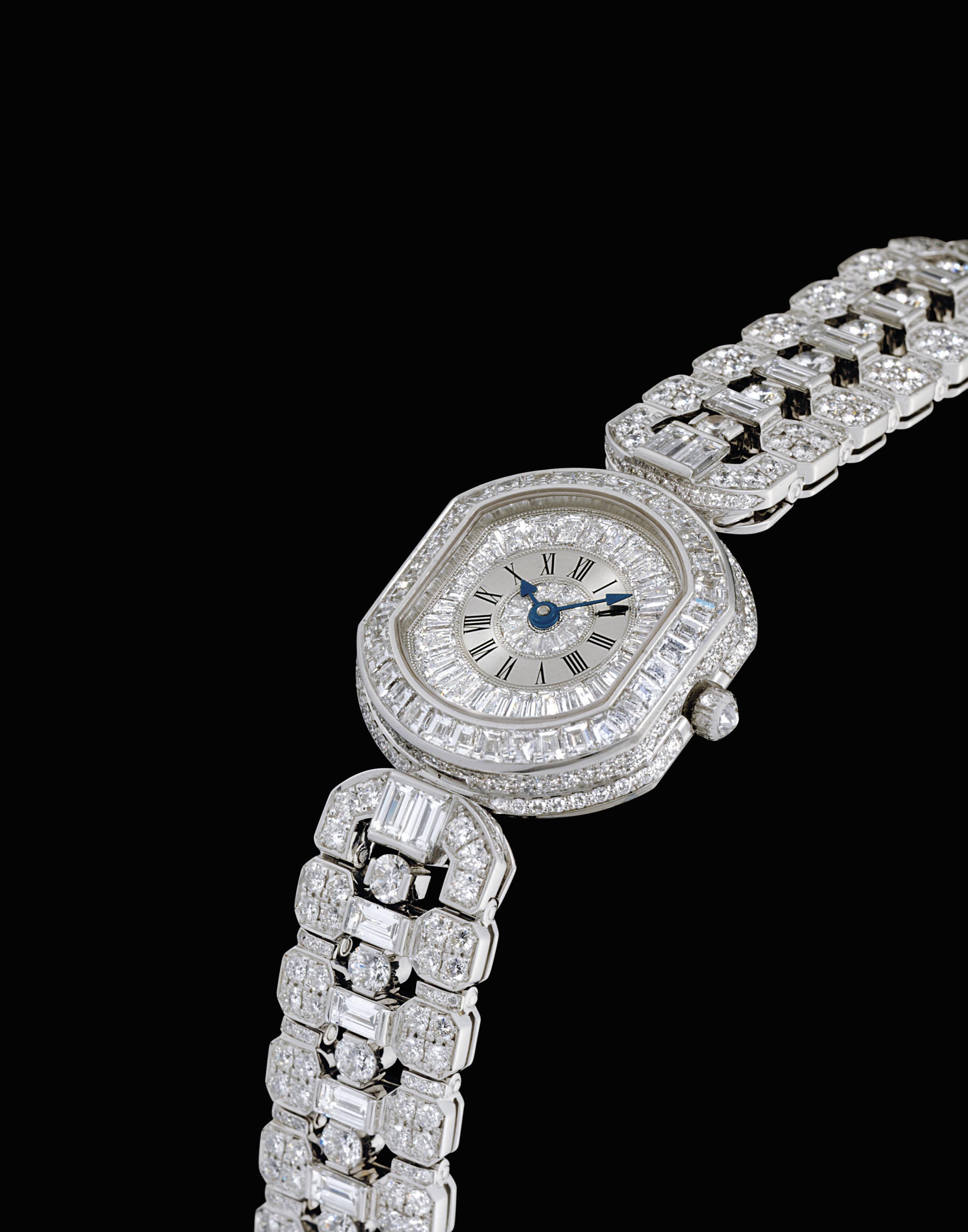 DANIEL ROTH. A LADY'S IMPRESSIVE AND VERY RARE 18K WHITE GOLD AND DIAMOND-SET BRACELET WATCH