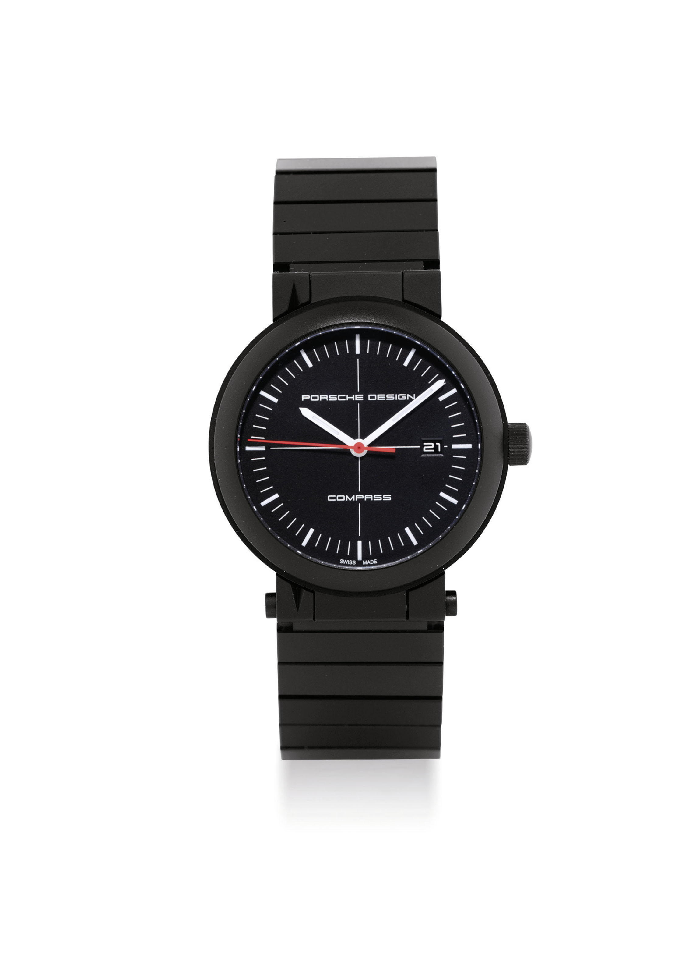 PORSCHE DESIGN. A PVD-COATED TITANIUM LIMITED EDITION AUTOMATIC WRISTWATCH WITH SWEEP CENTRE SECONDS, DATE AND COMPASS