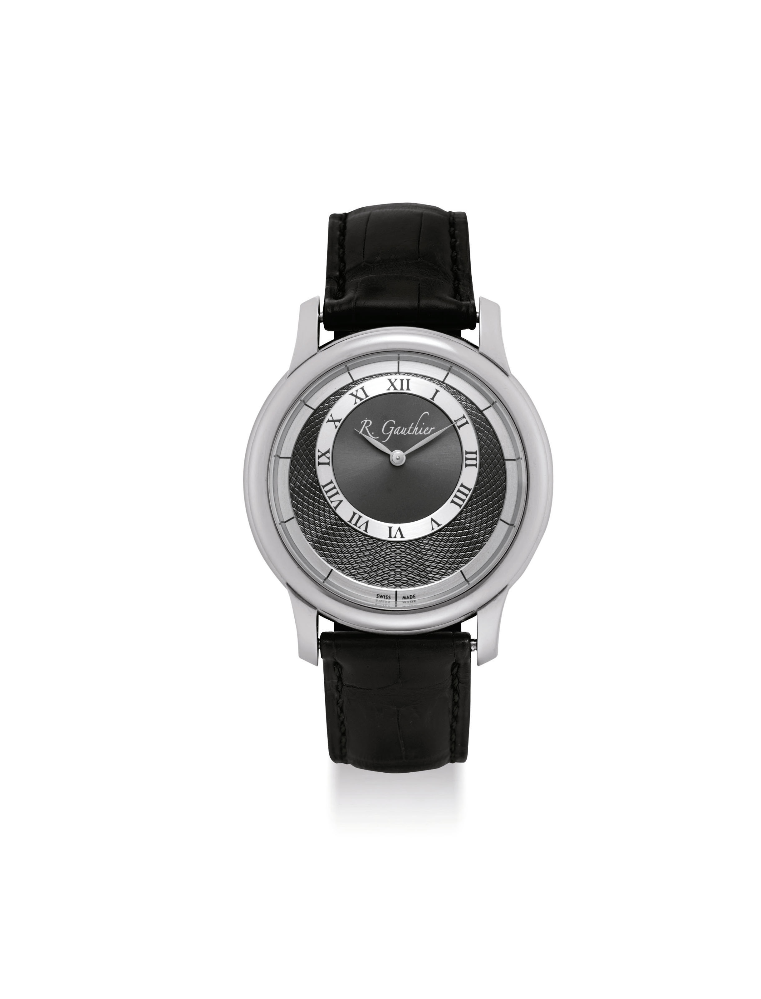 ROMAIN GAUTHIER. A FINE PLATINUM LIMITED EDITION BACK WINDING WRISTWATCH WITH ECCENTRIC DIAL