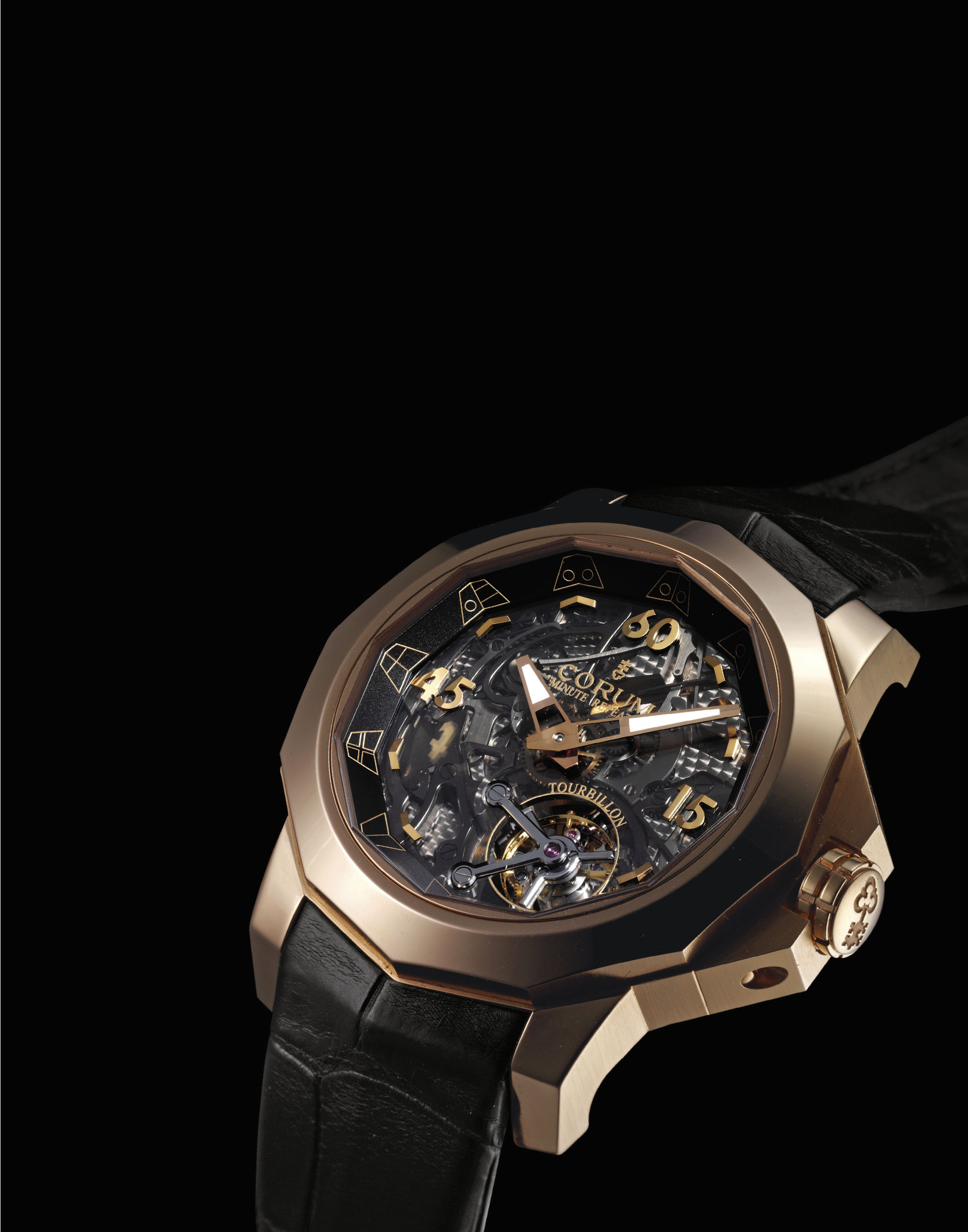 CORUM. A RARE, UNUSUAL AND LARGE 18K PINK GOLD LIMITED EDITION SEMI-SKELETONISED MINUTE REPEATING TOURBILLON WRISTWATCH