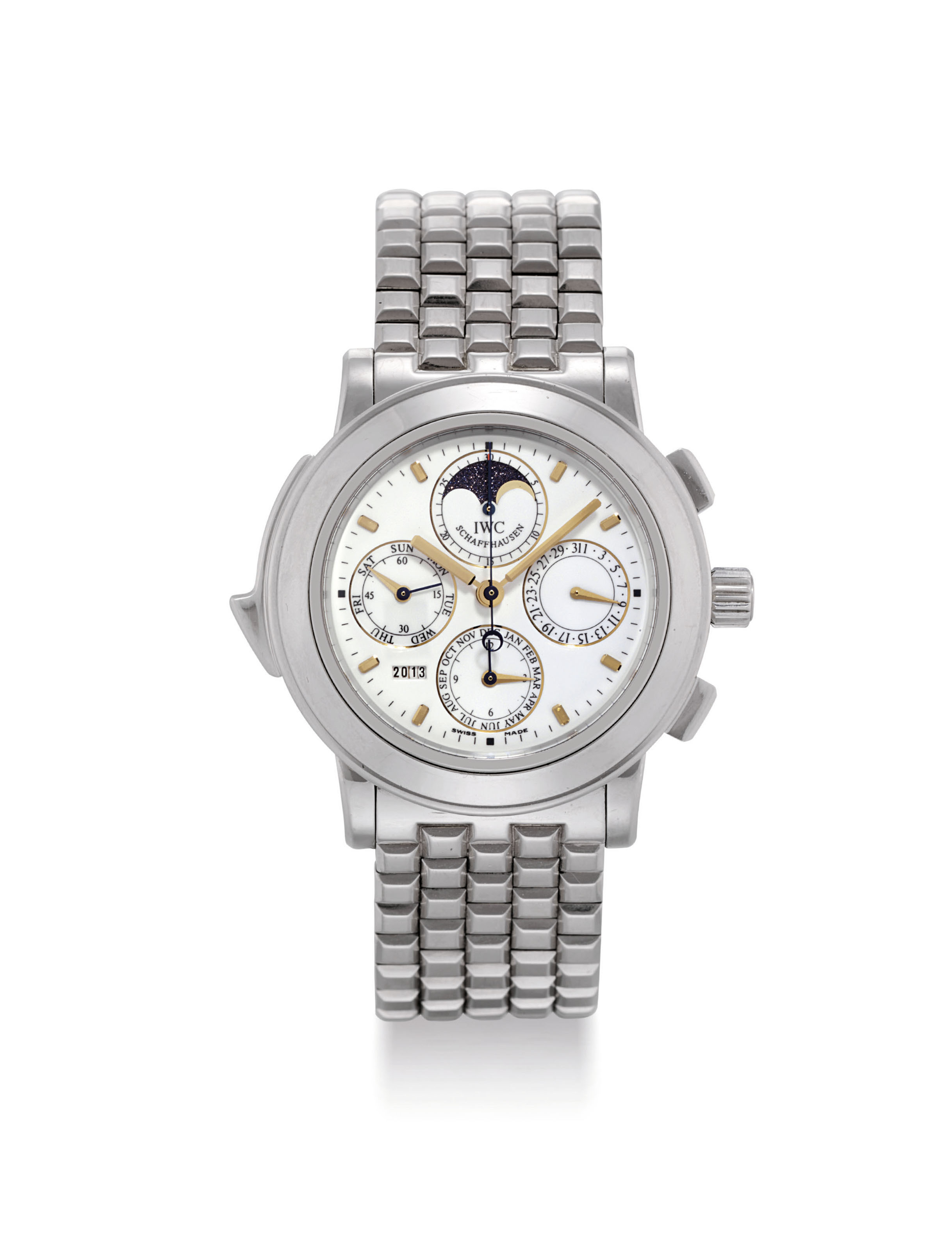 IWC. A FINE, LARGE, HEAVY AND VERY RARE PLATINUM LIMITED EDITION AUTOMATIC PERPETUAL CALENDAR MINUTE REPEATING CHRONOGRAPH WRISTWATCH WITH MOON PHASES, YEAR DISPLAY AND HEAVY PLATINUM BRACELET