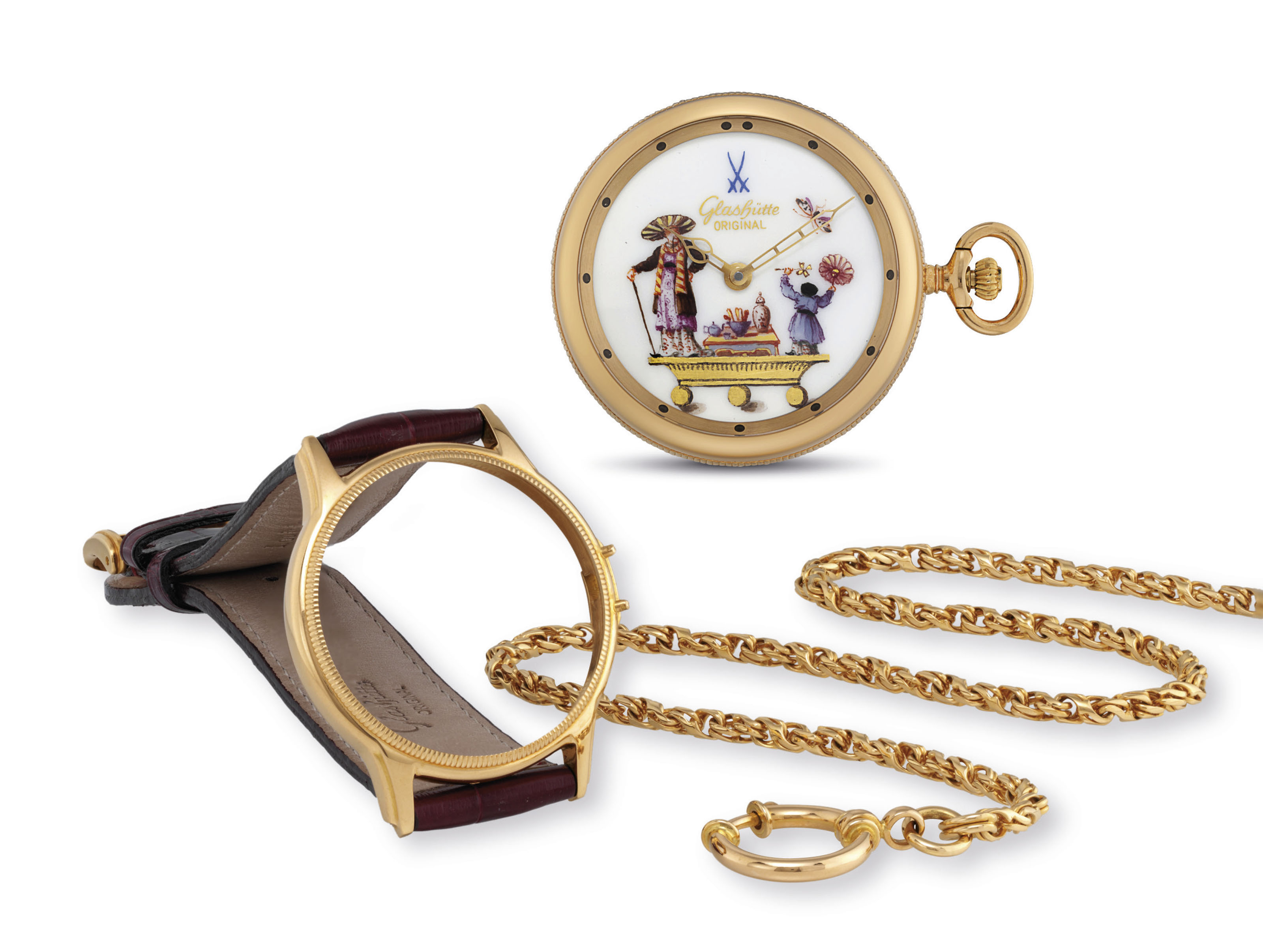 GLASHÜTTE ORIGINAL. A FINE AND RARE 18K GOLD CONVERTIBLE LIMITED EDITION WATCH WITH MEISSEN PORCELAIN DIAL AND WITH 18K GOLD CHAIN TO BE WORN AS WRIST OR POCKET WATCH
