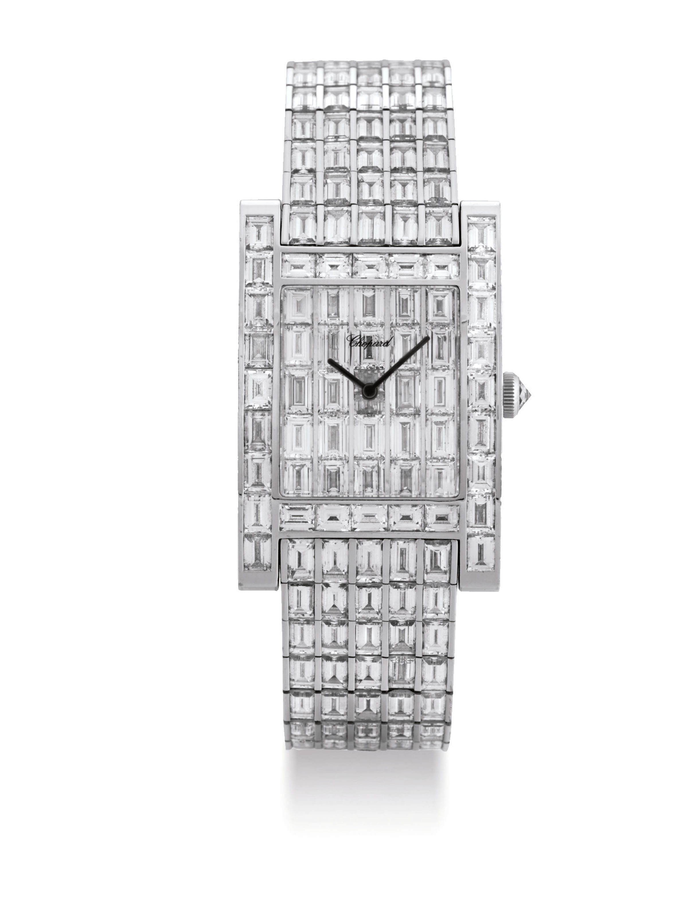 CHOPARD. A MAGNIFICENT AND RARE 18K WHITE GOLD AND DIAMOND-SET RECTANGULAR BRACELET WATCH