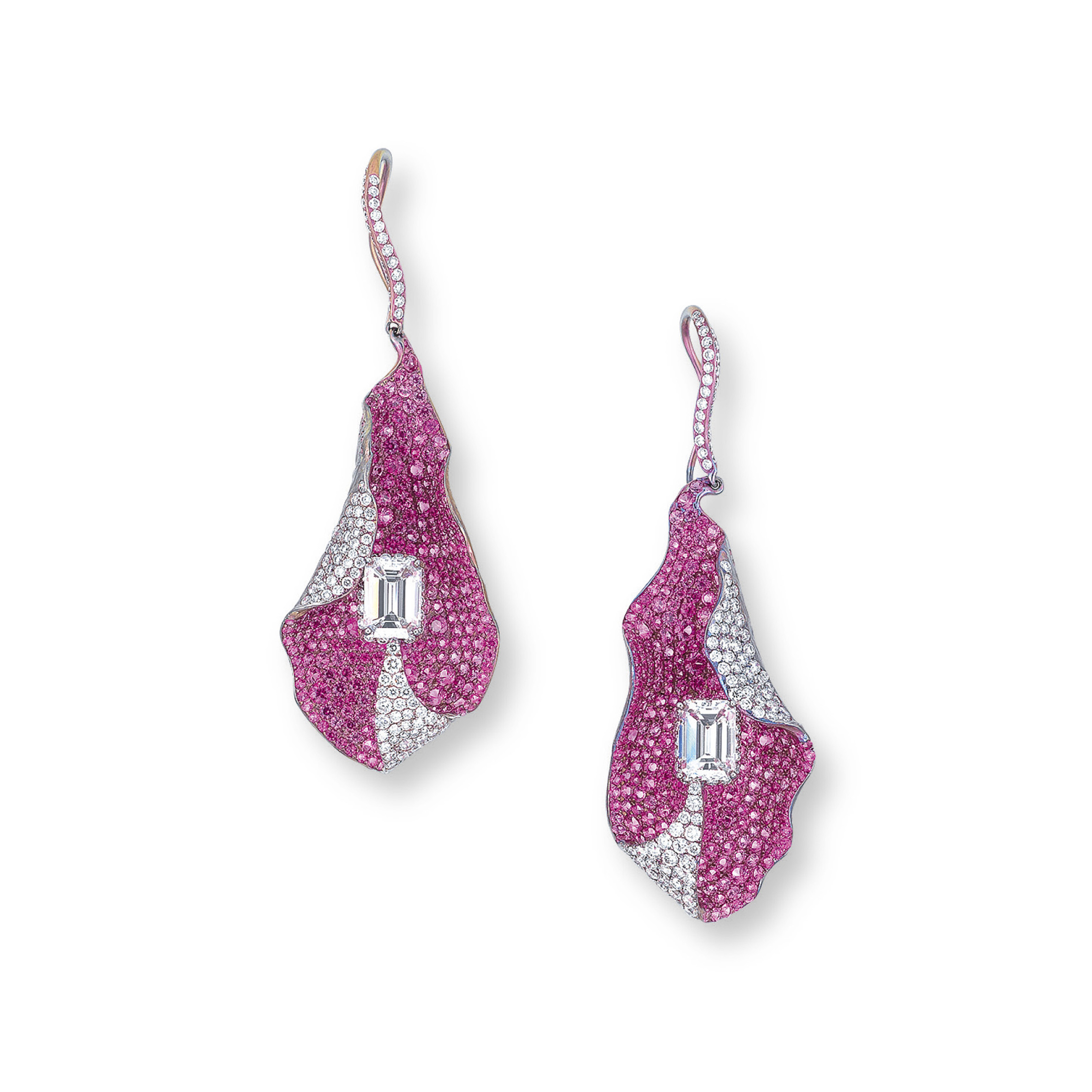 A PAIR OF DIAMOND AND PINK SAPPHIRE EAR PENDANTS, BY WALLACE CHAN