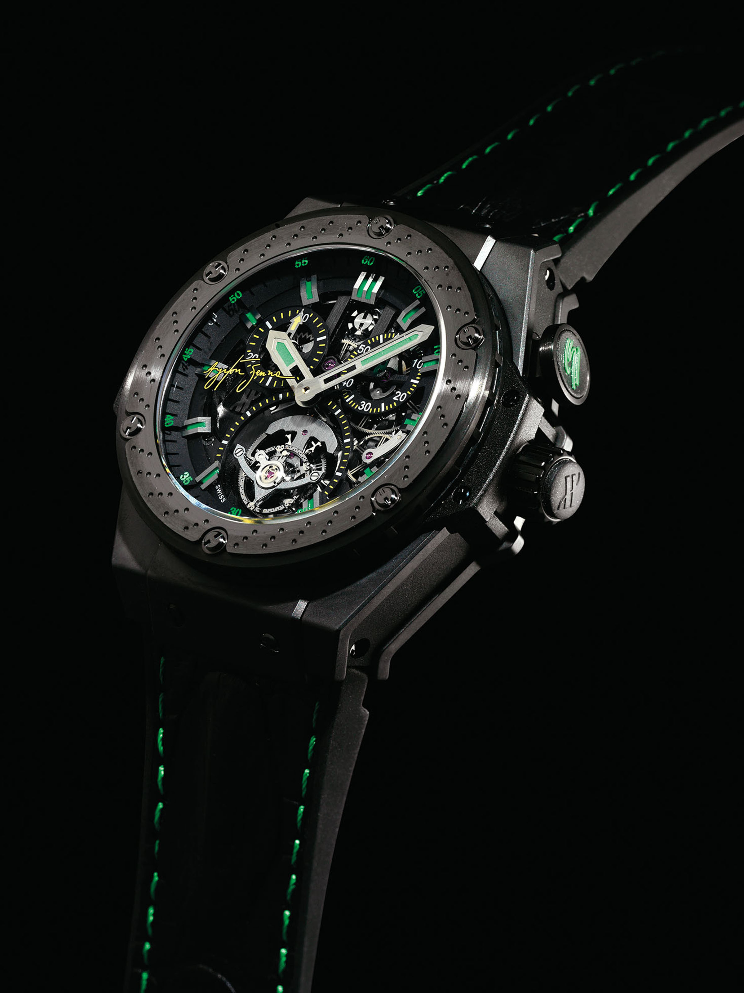 HUBLOT. A FINE AND OVERSIZED TITANIUM AND CERAMIC LIMITED EDITION SINGLE BUTTON CHRONOGRAPH TOURBILLON WRISTWATCH