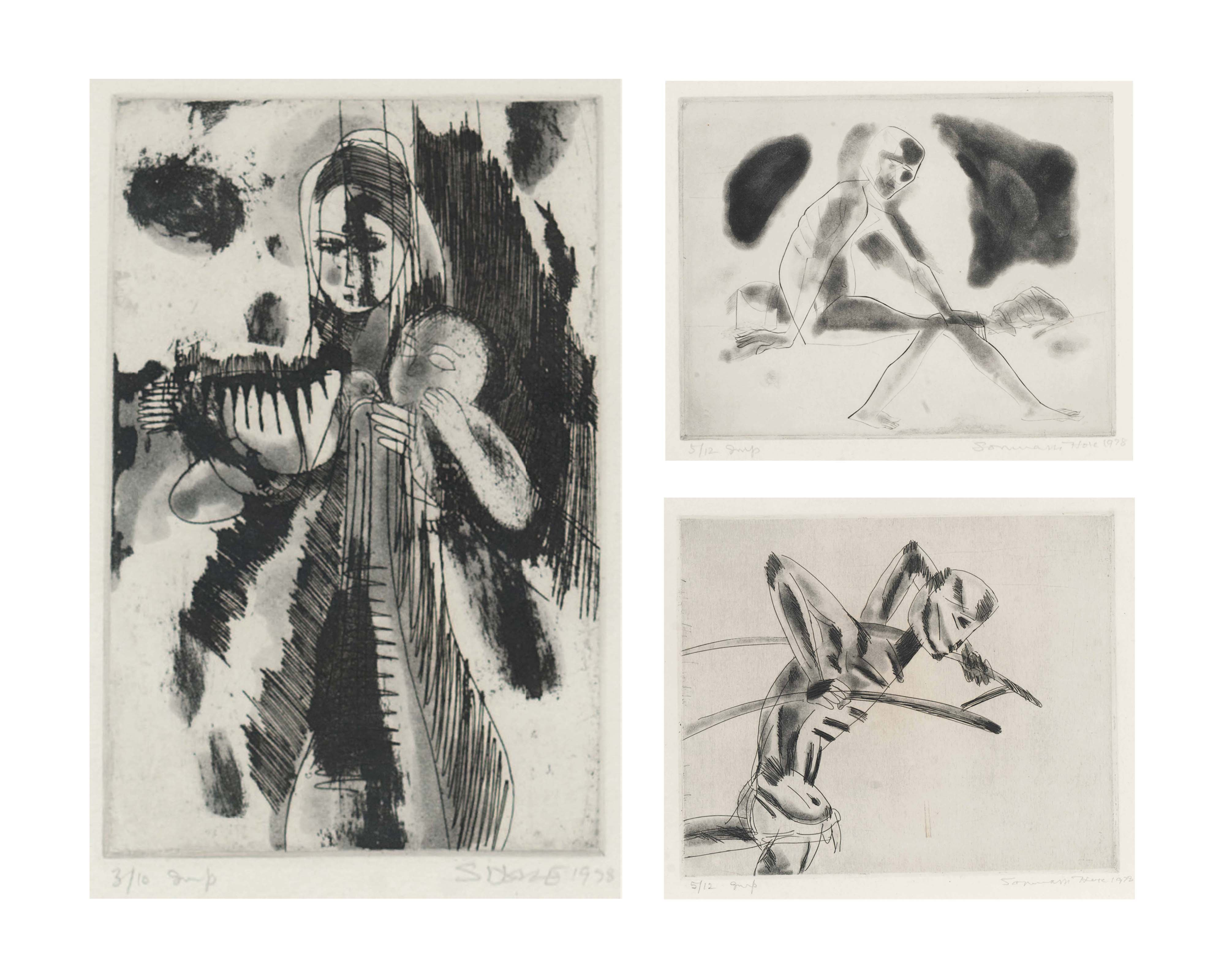 Untitled (Mother and Child); Untitled (Seated Man); Untitled (Rickshaw Puller)