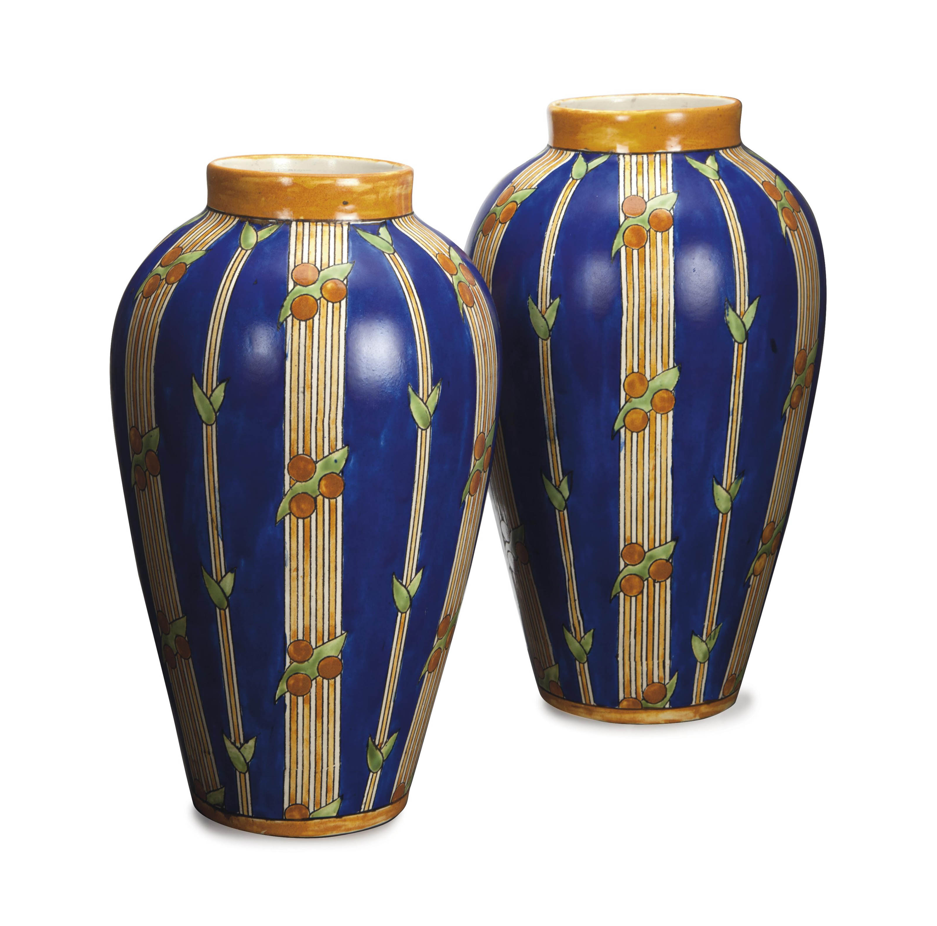 A PAIR OF BELGIAN GLAZED VASES,