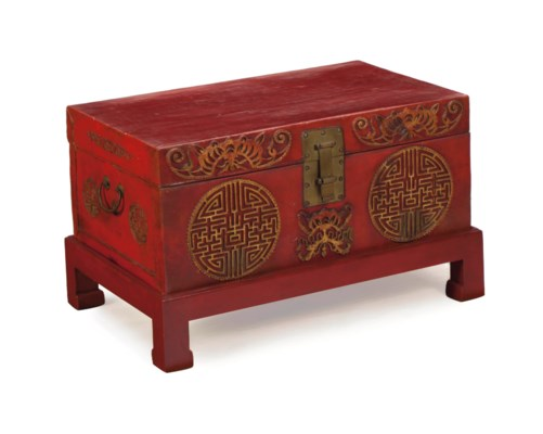 A CHINESE RED-PAINTED LEATHER