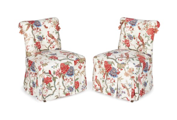 A PAIR OF CREAM GROUND FLORAL