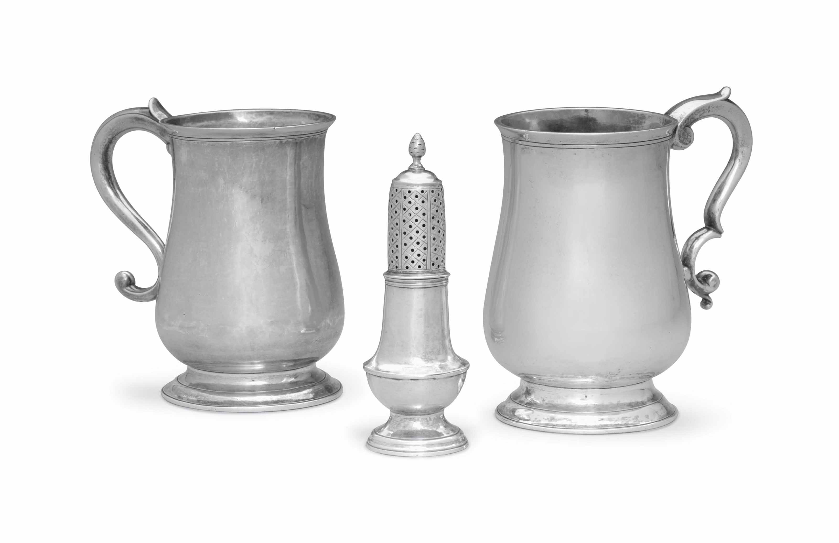 TWO SILVER CANNS AND A SILVER CASTER