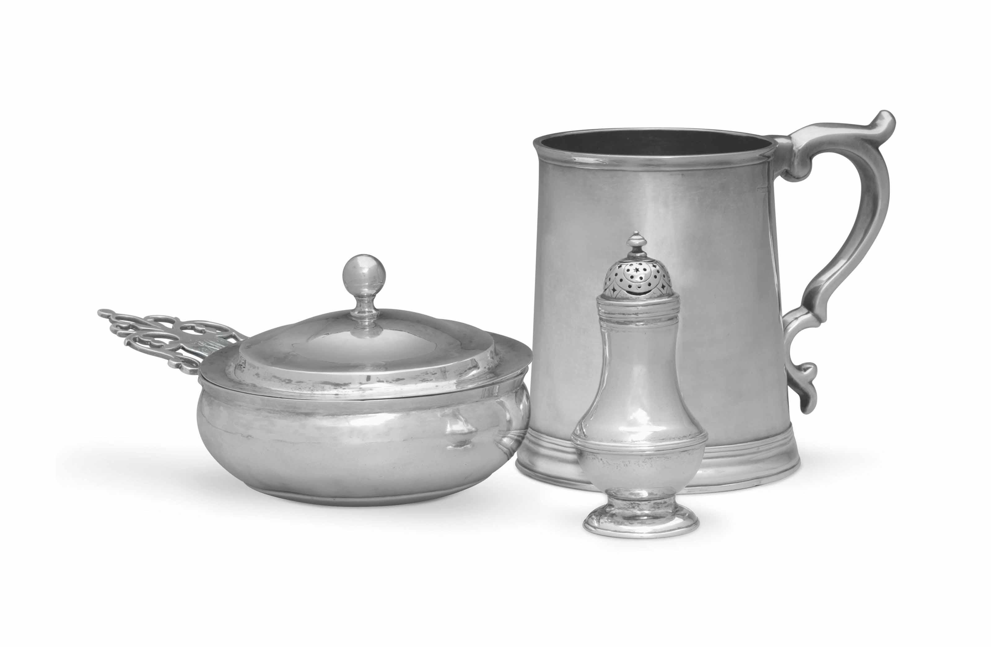 A SILVER QUART CANN, PORRINGER AND CASTER