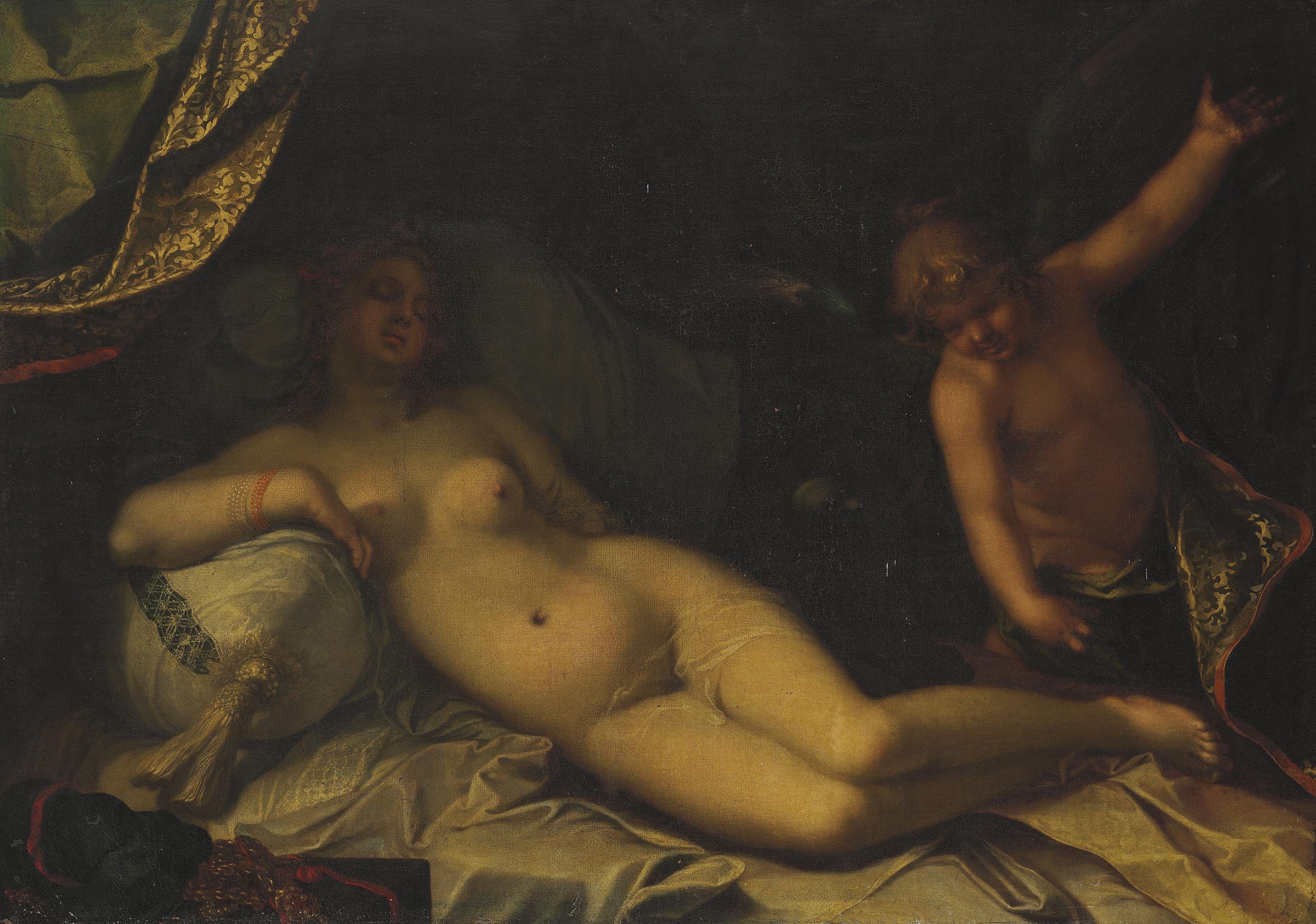 A mythological scene, perhaps Venus and Cupid