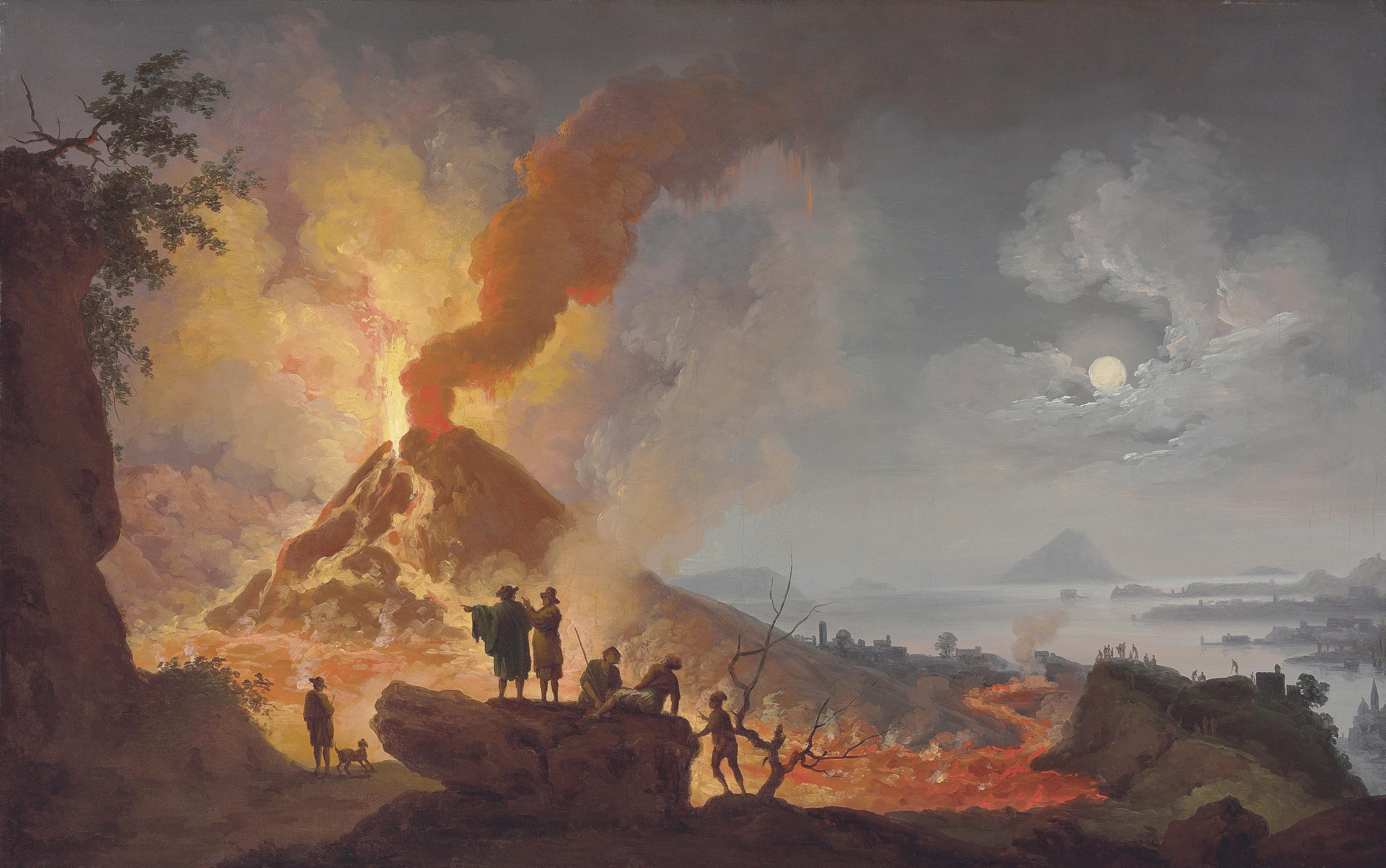 Mount Vesuvius erupting by night seen from the Atrio del Cavallo with spectators in the foreground, a panoramic view of the city and the Bay of Naples beyond