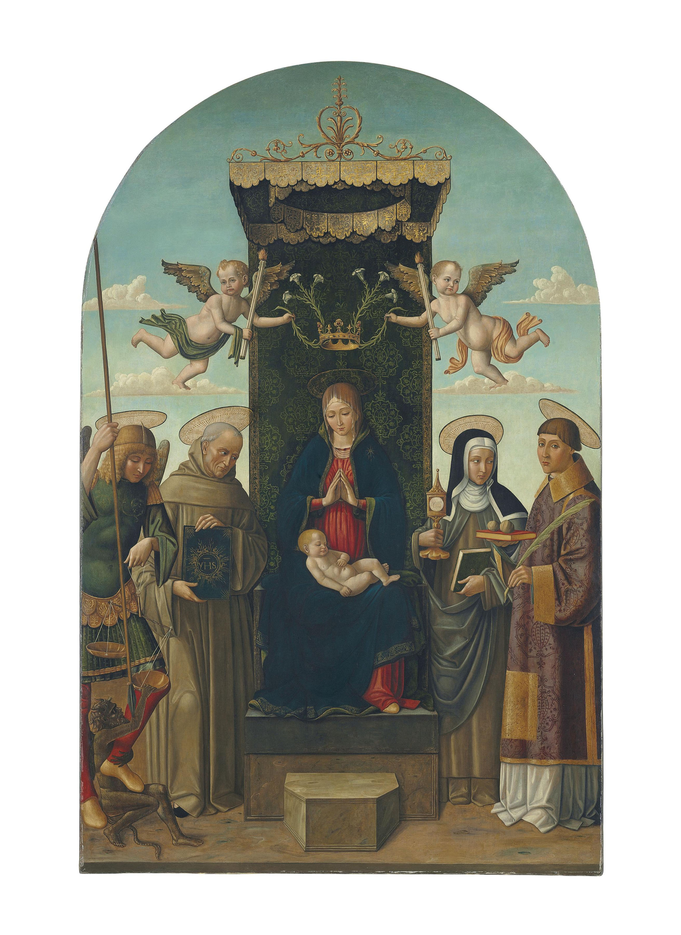 The Madonna and Child enthroned, with Saints Michael, Bernardino of Siena, Clare and Stephen, two angels holding a crown with lilies above