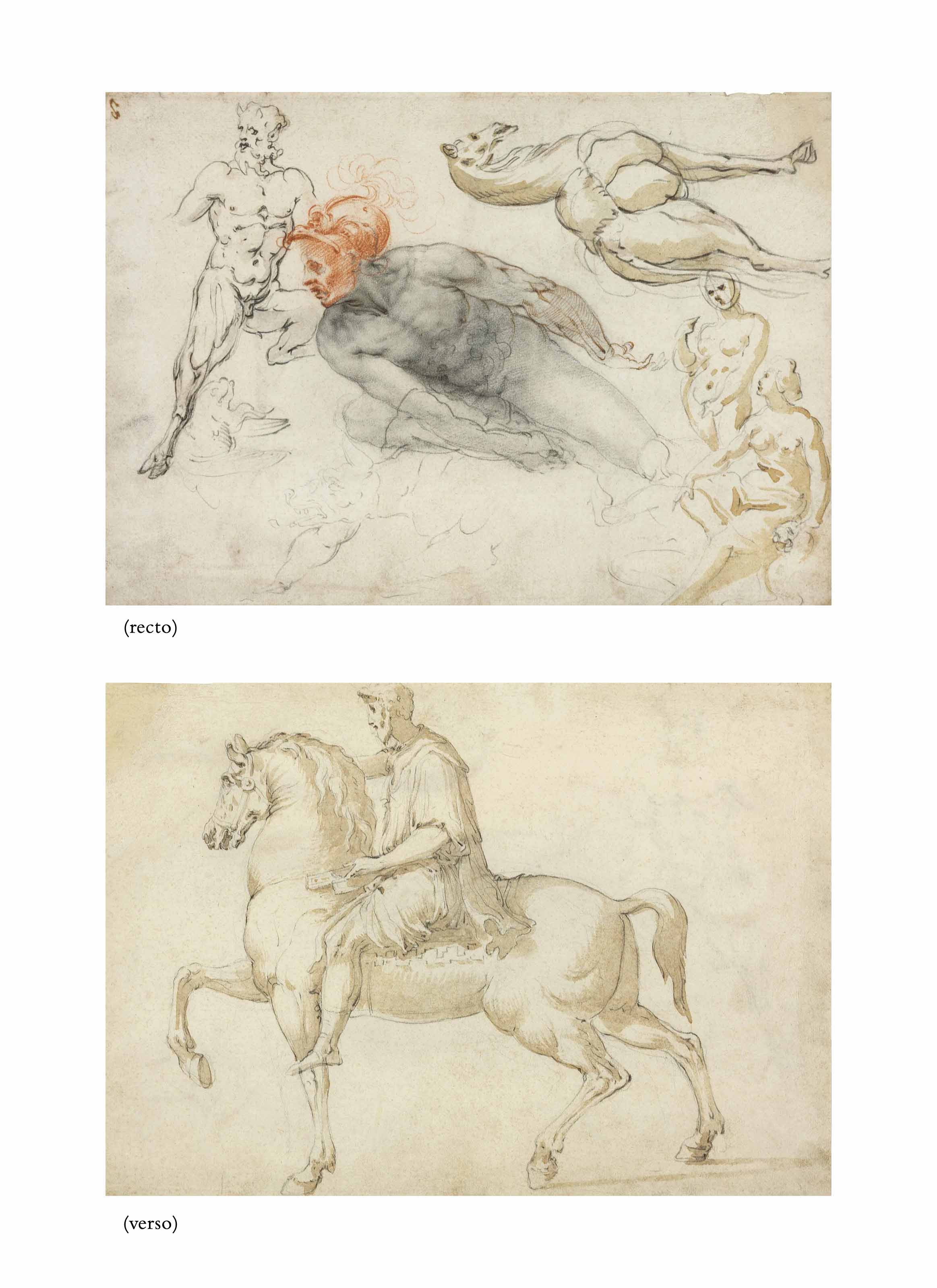 Studies of male and female nudes, a satyr, a camel and other beasts (recto), The Marcus Aurelius equestrian statue (verso)