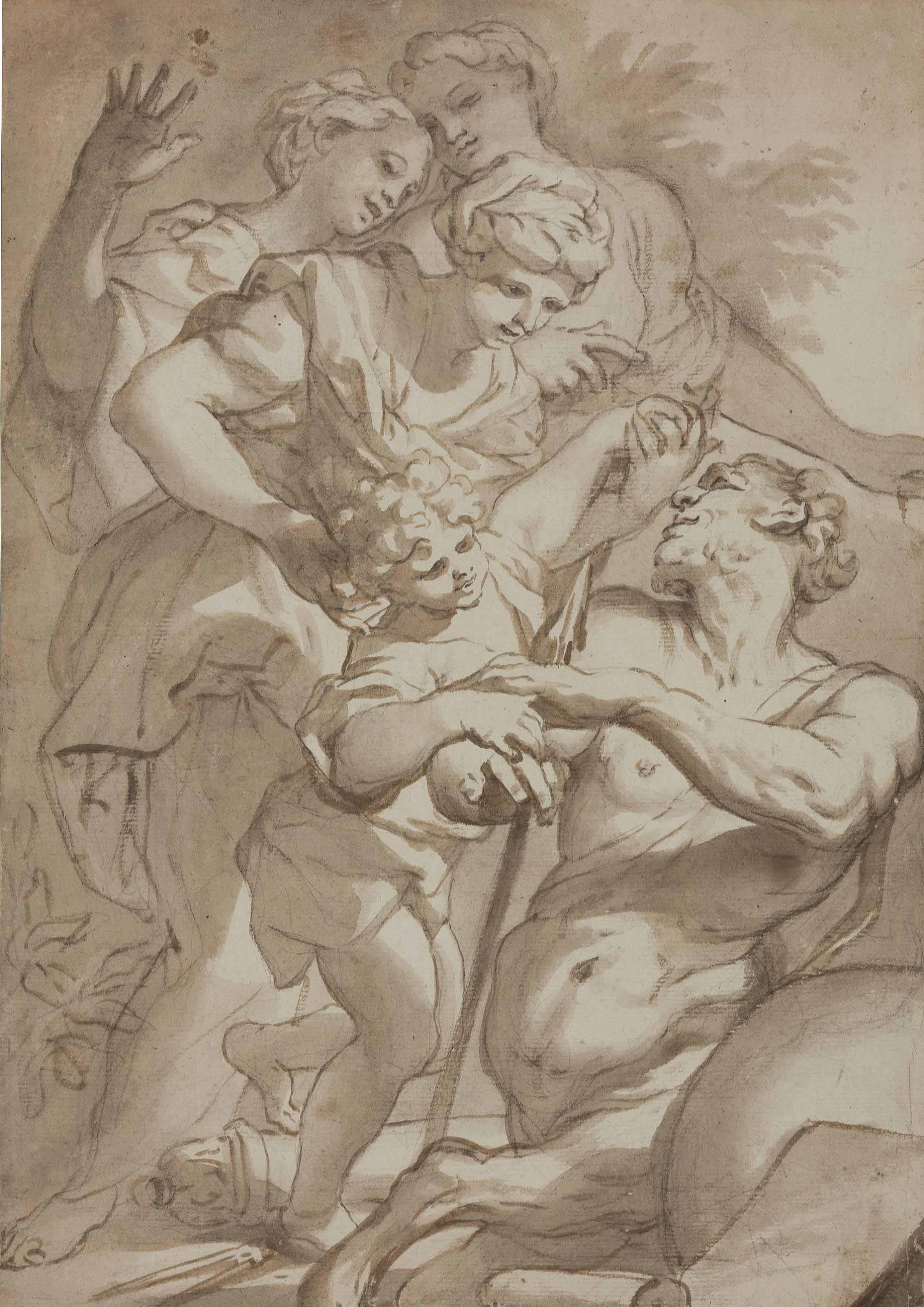 Nymphs entrusting Chiron with the infant Achilles