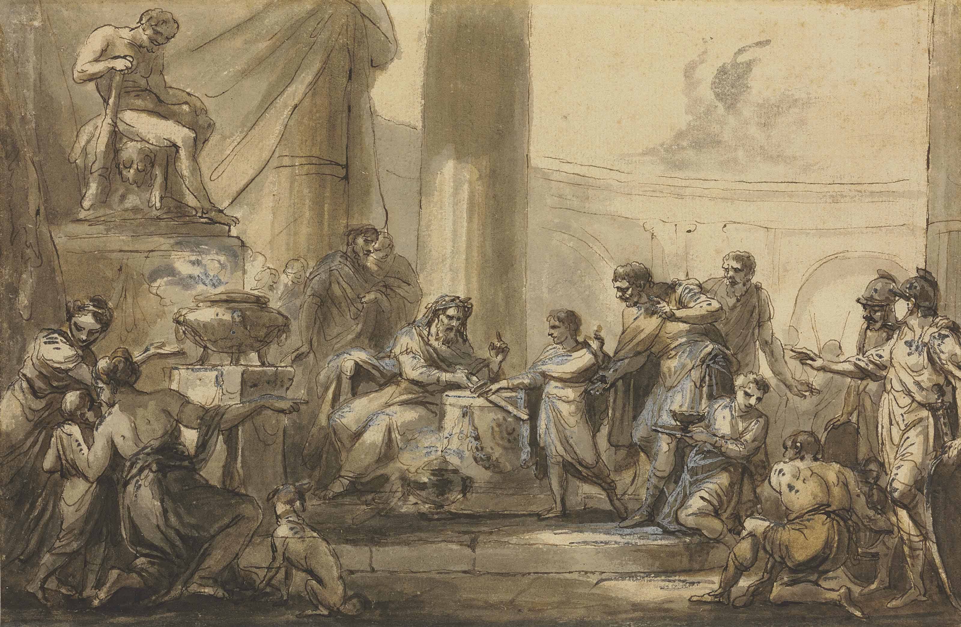A scene from the Antique: A priest presenting a sword to a youth beneath a statue of Hercules