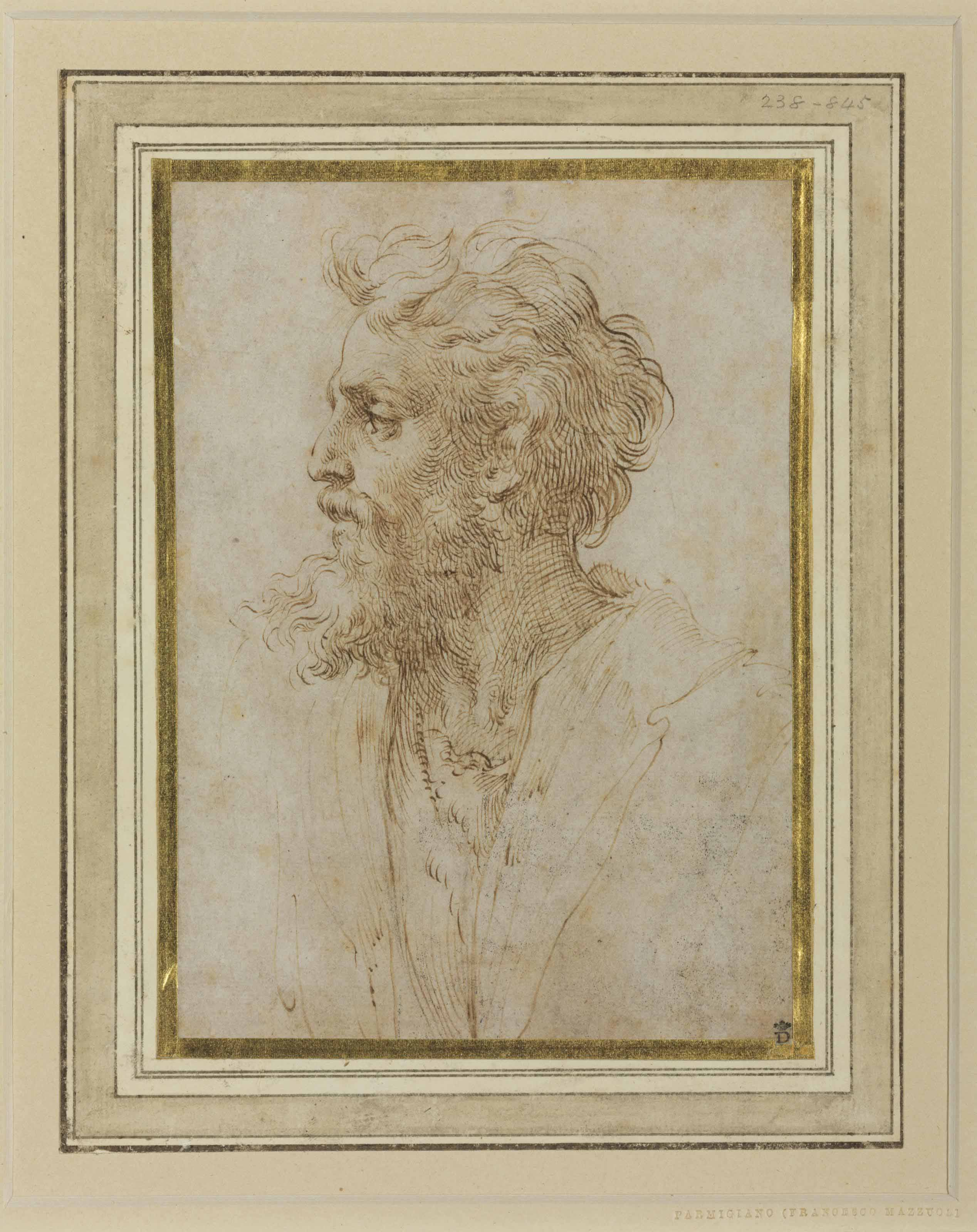 Head of a bearded man in profile facing left, possibly a self-portrait