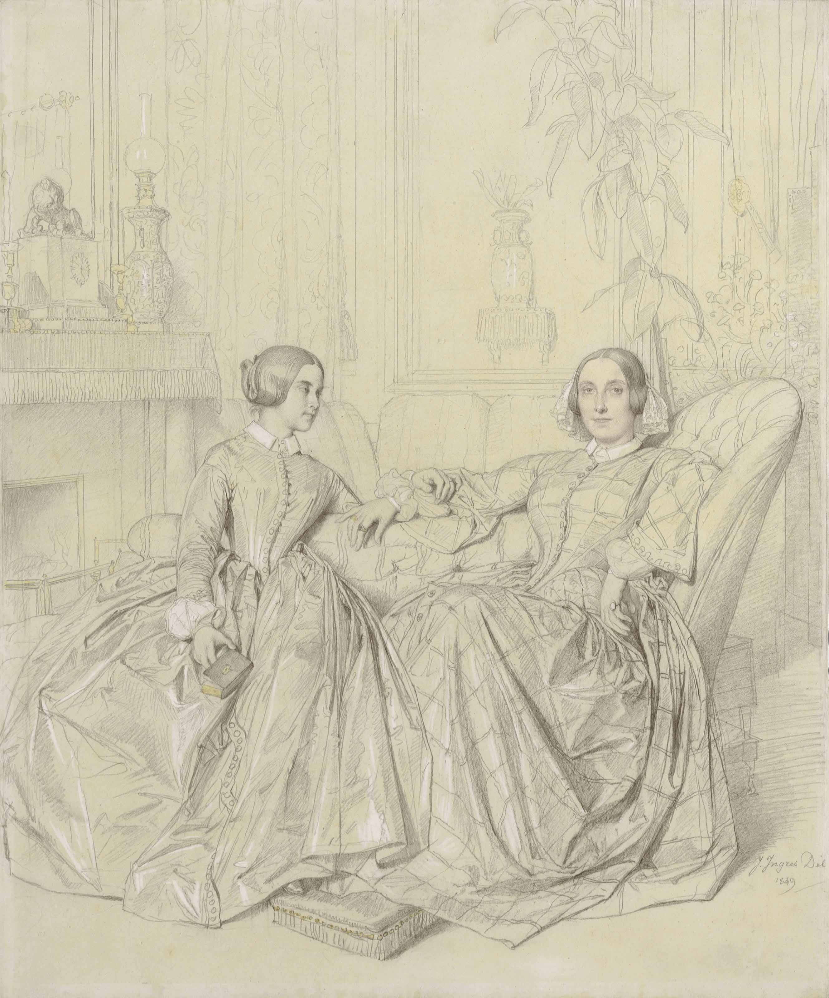 Comtesse Charles d'Agoult, née Marie d'Agoult, and her daughter Claire d'Agoult