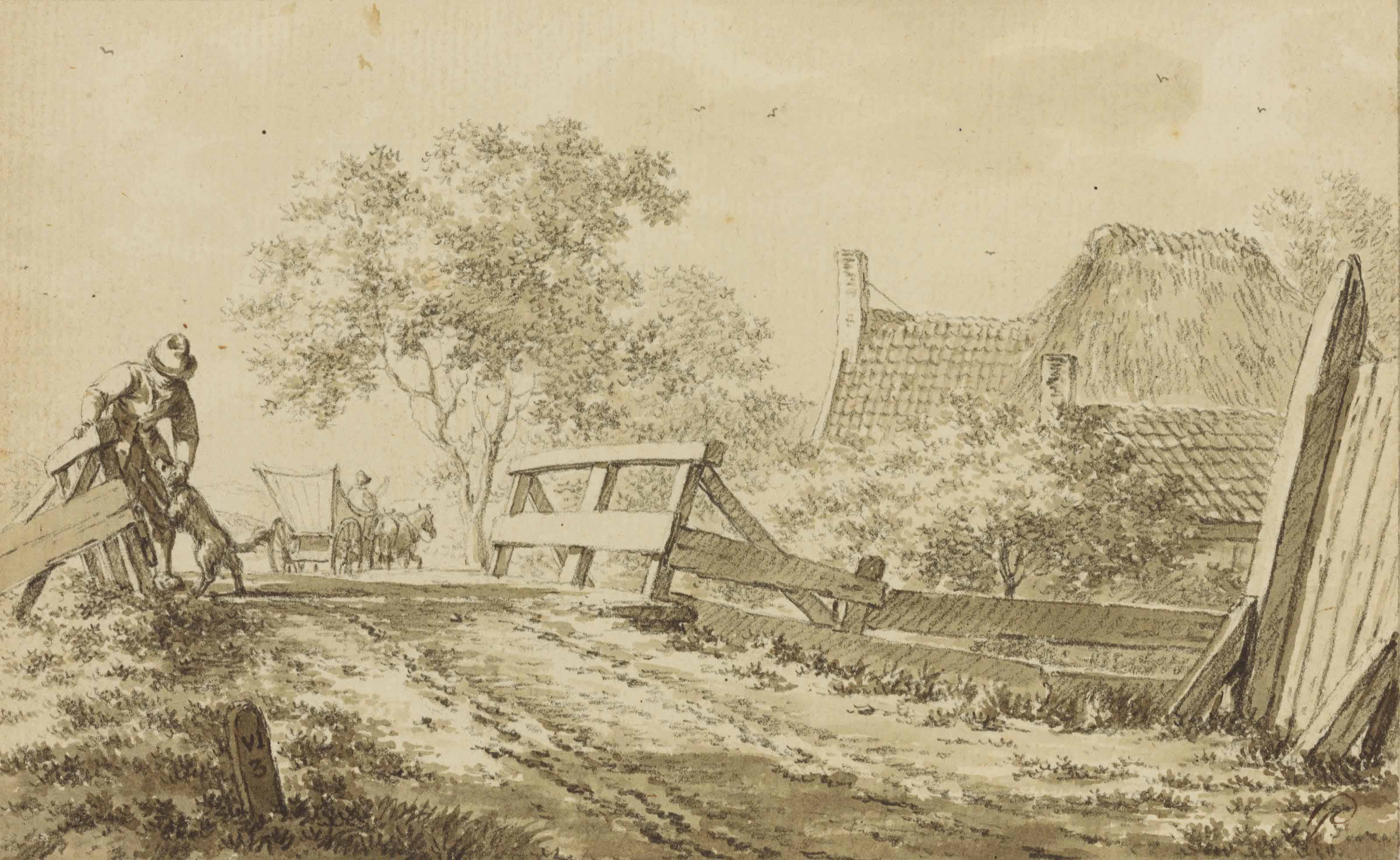 A man with a dog on a bridge, a horse and cart, and a cottage beyond