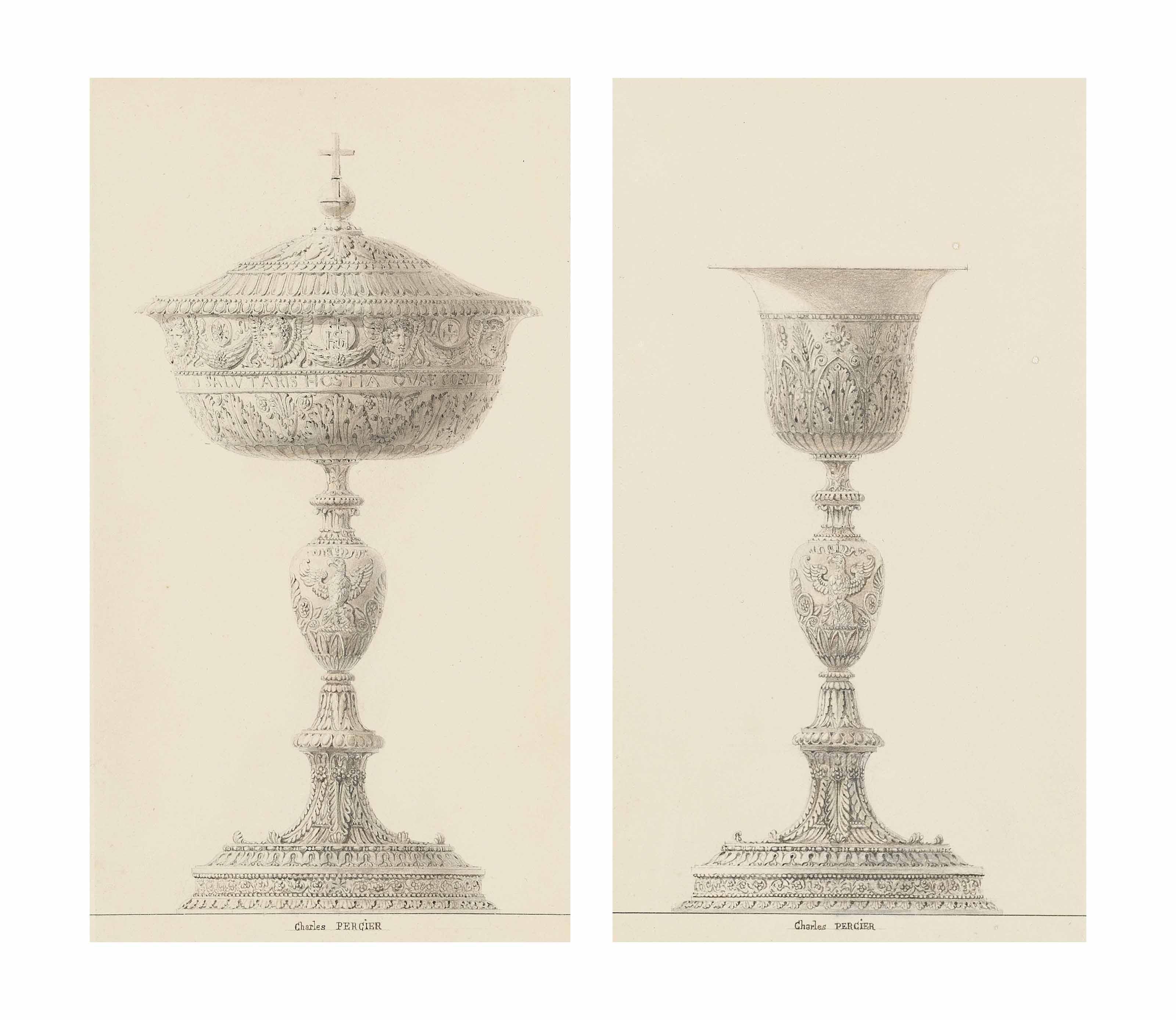 A ciborium; and A chalice: Designs for the coronation of Napoleon