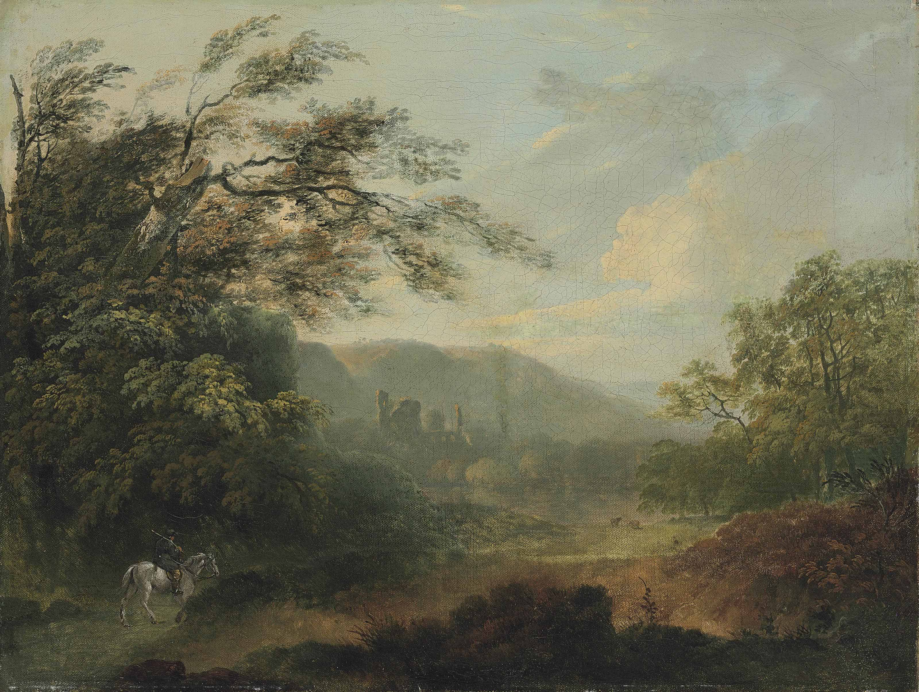 Landscape with a traveler on horseback and ruins in the distance