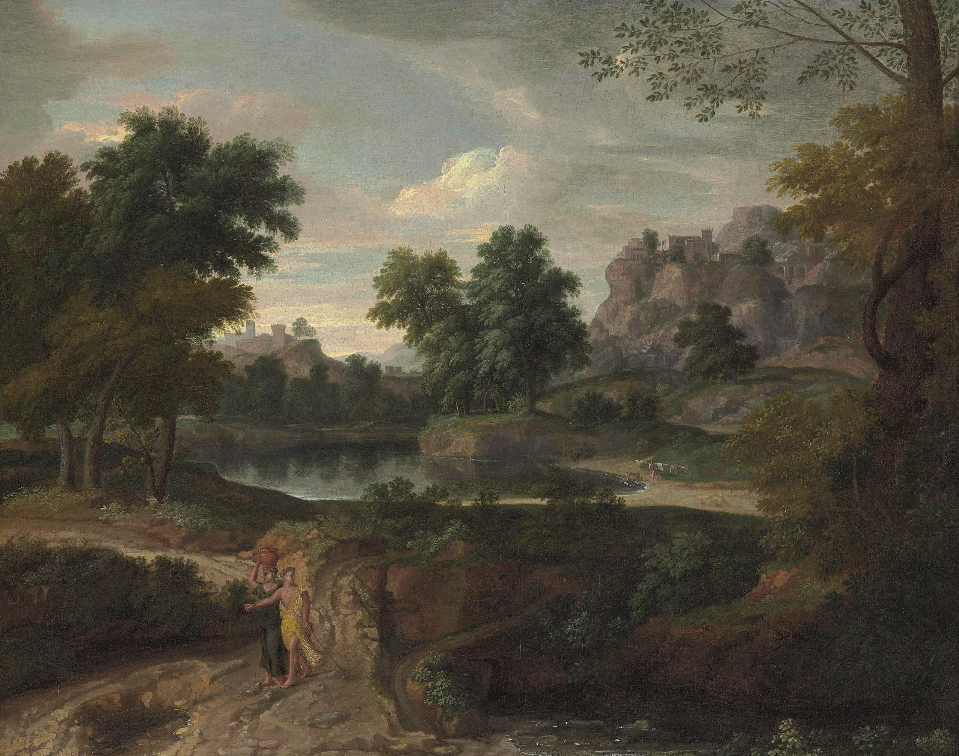 Two figures on a path in a wooded classical landscape, buildings and a pool of water beyond