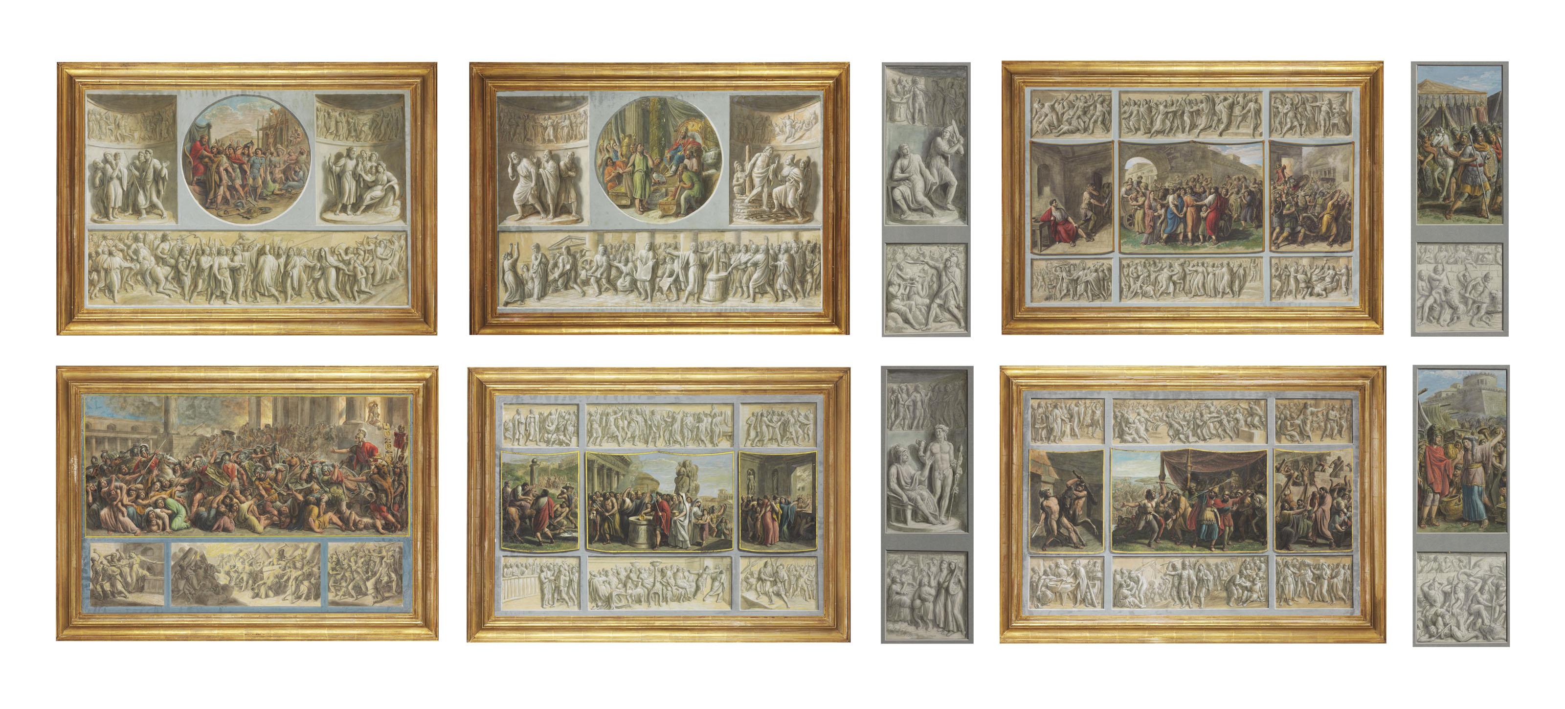 Ten scenes after the Antique with trompe l'oeil bas-relief friezes