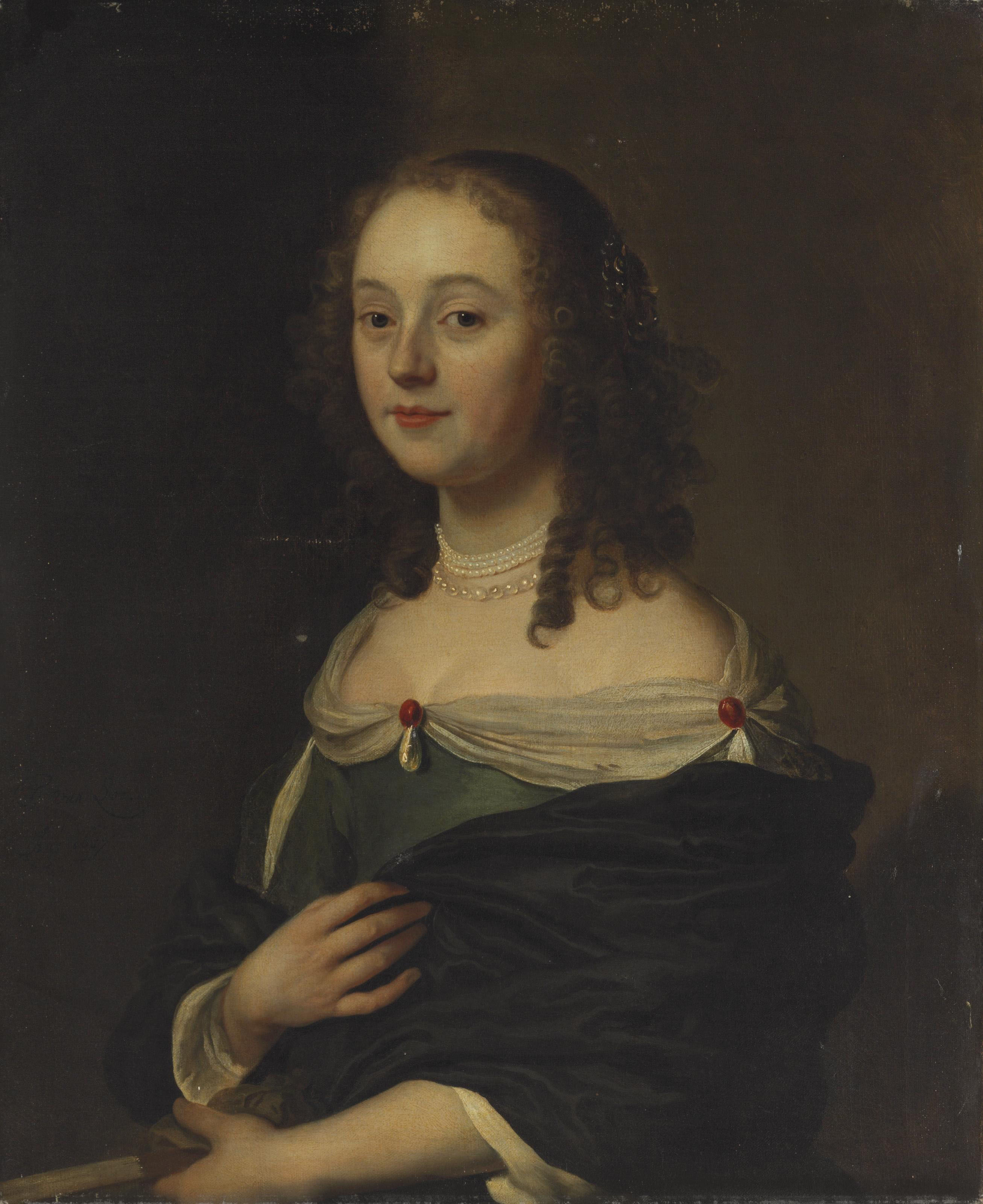 Portrait of a young lady in a blue dress, half-length