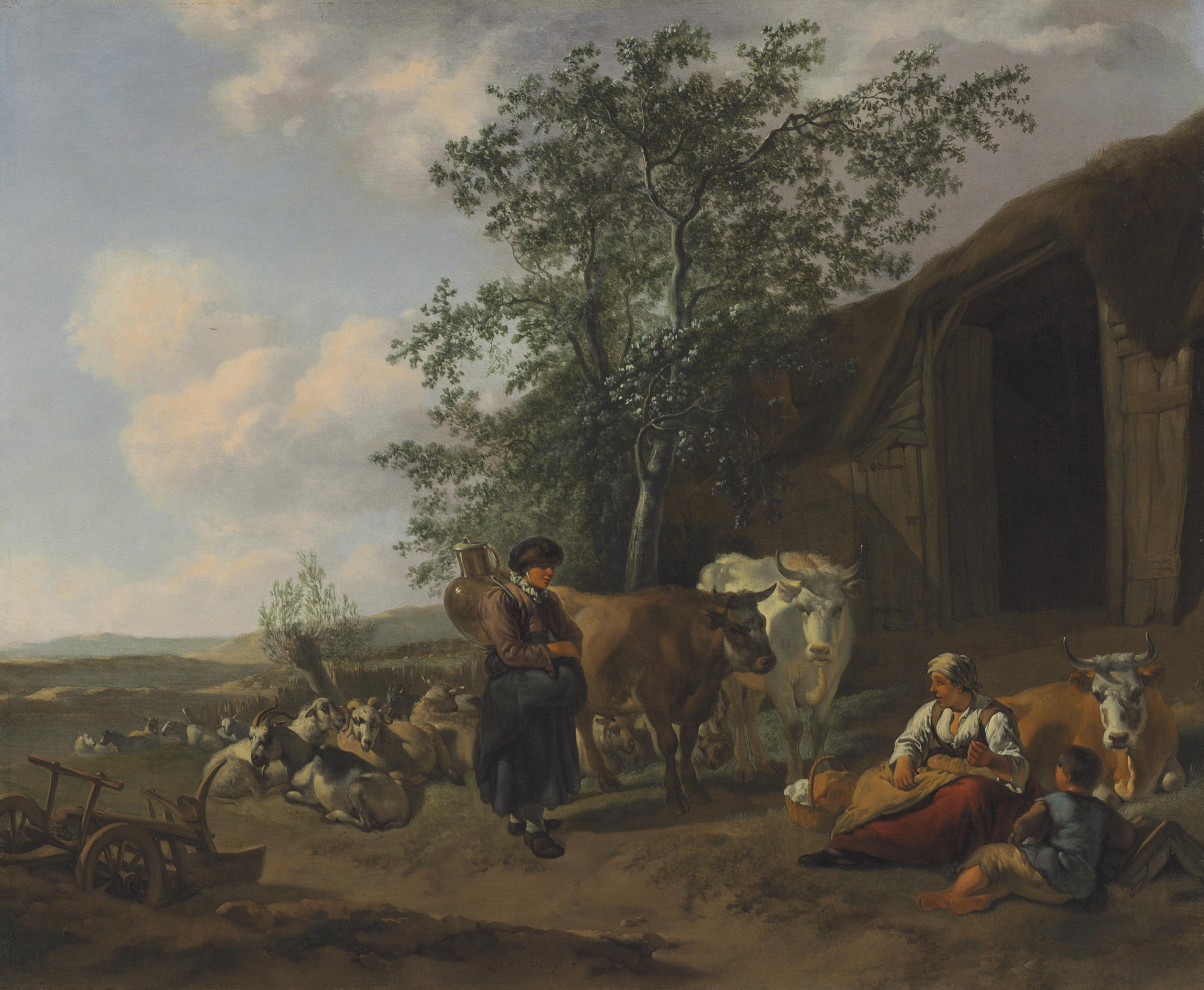 An Italianate landscape with peasants outside a barn