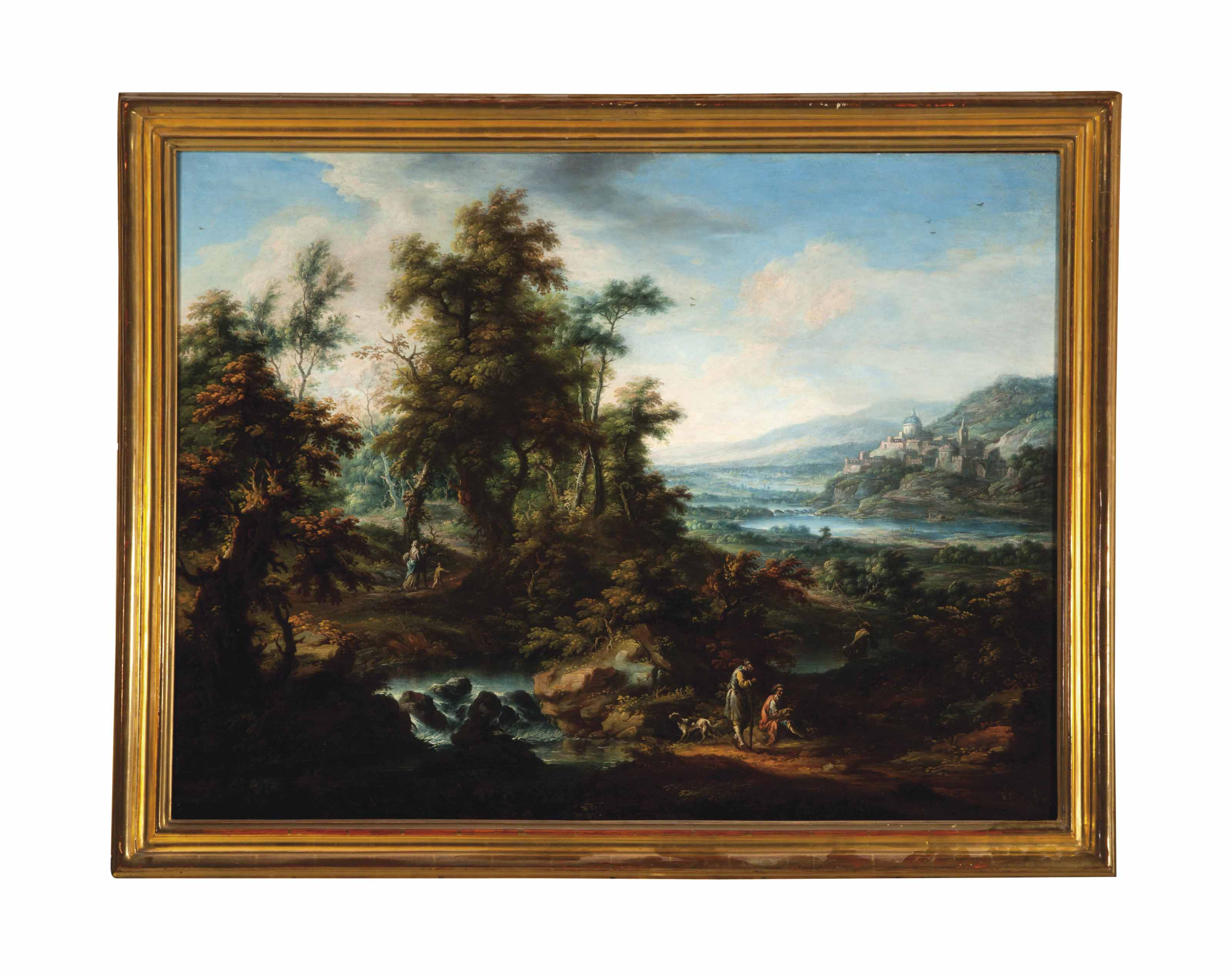 Travellers resting along a stream amongst a vast landscape; and a companion painting